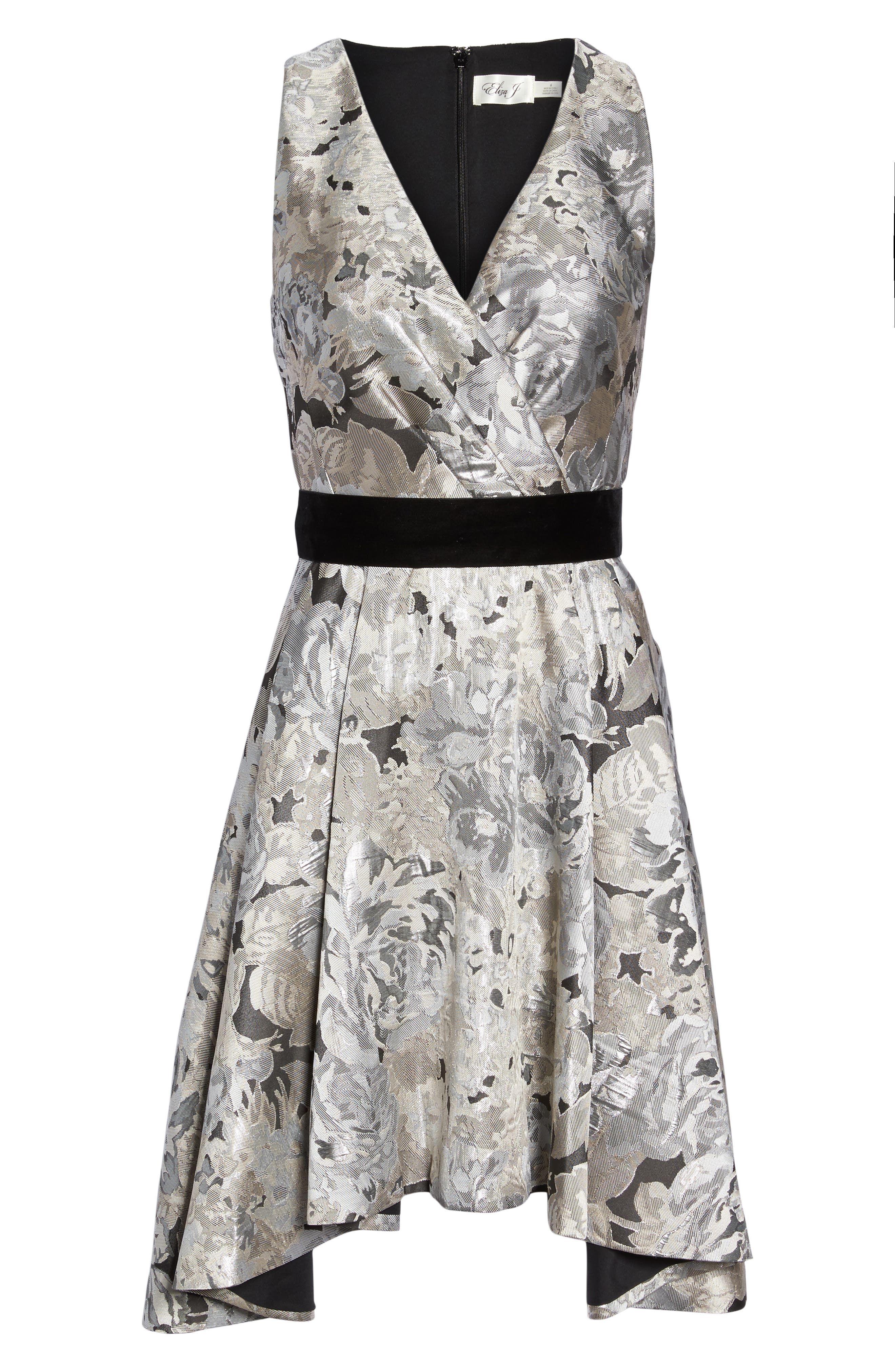 Alternate Image 6  - Eliza J Jacquard High/Low Dress (Regular & Petite)