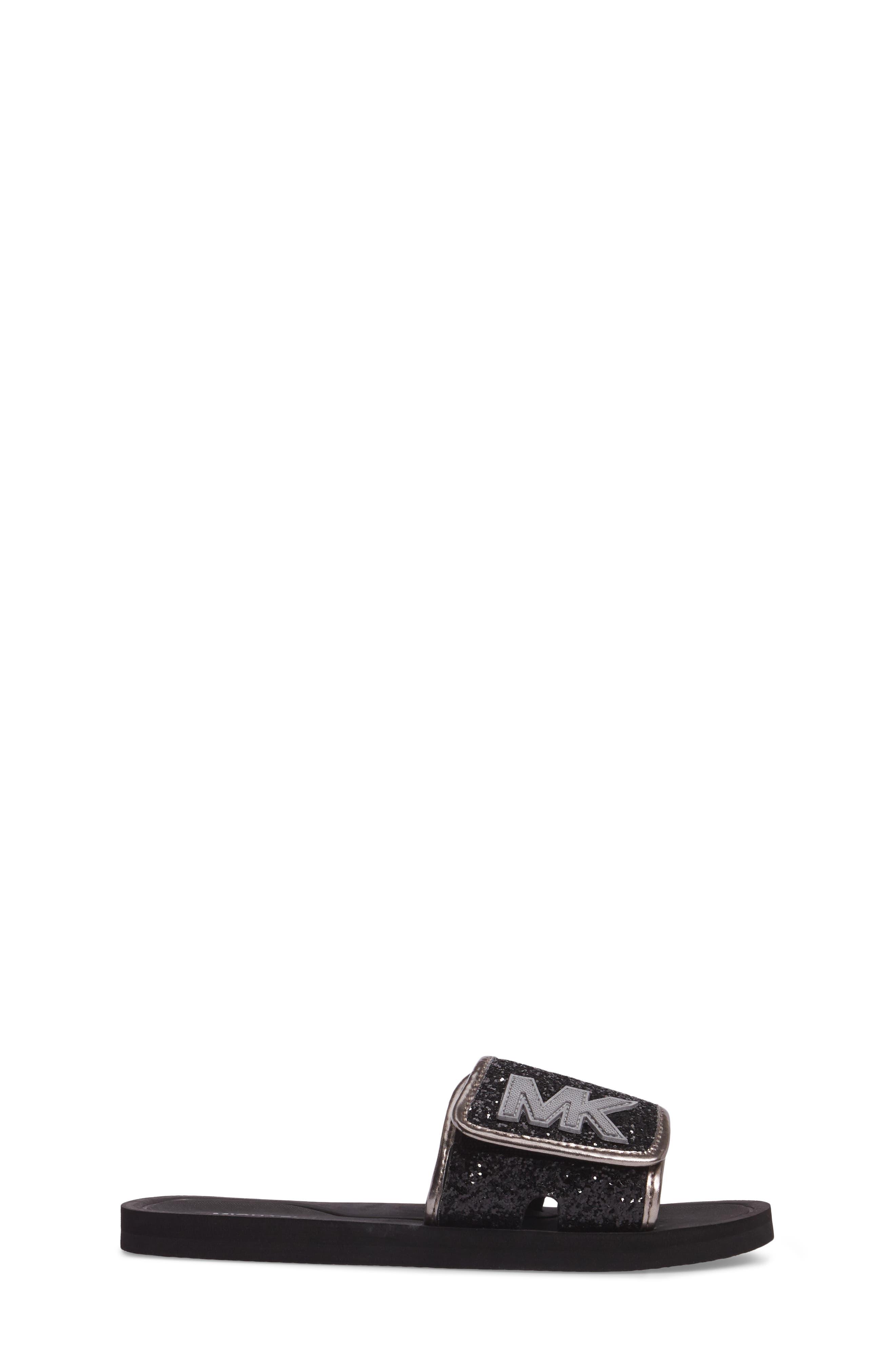 Alternate Image 3  - MICHAEL Michael Kors Eli Glow Glitter Slide Sandal (Toddler, Little Kid & Big Kid)