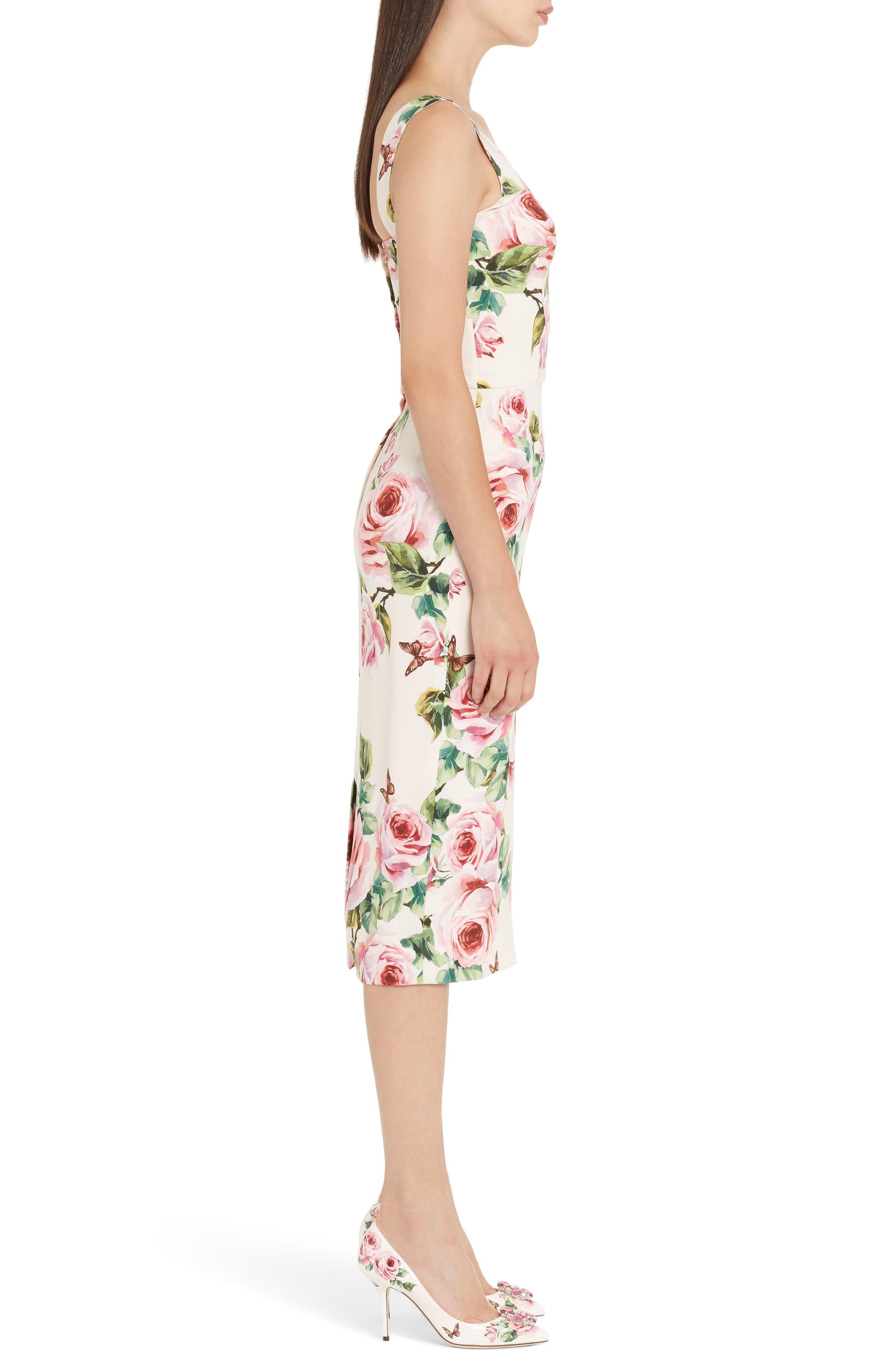 Rose Print Stretch Cady Sheath Dress,                             Alternate thumbnail 3, color,                             Pink