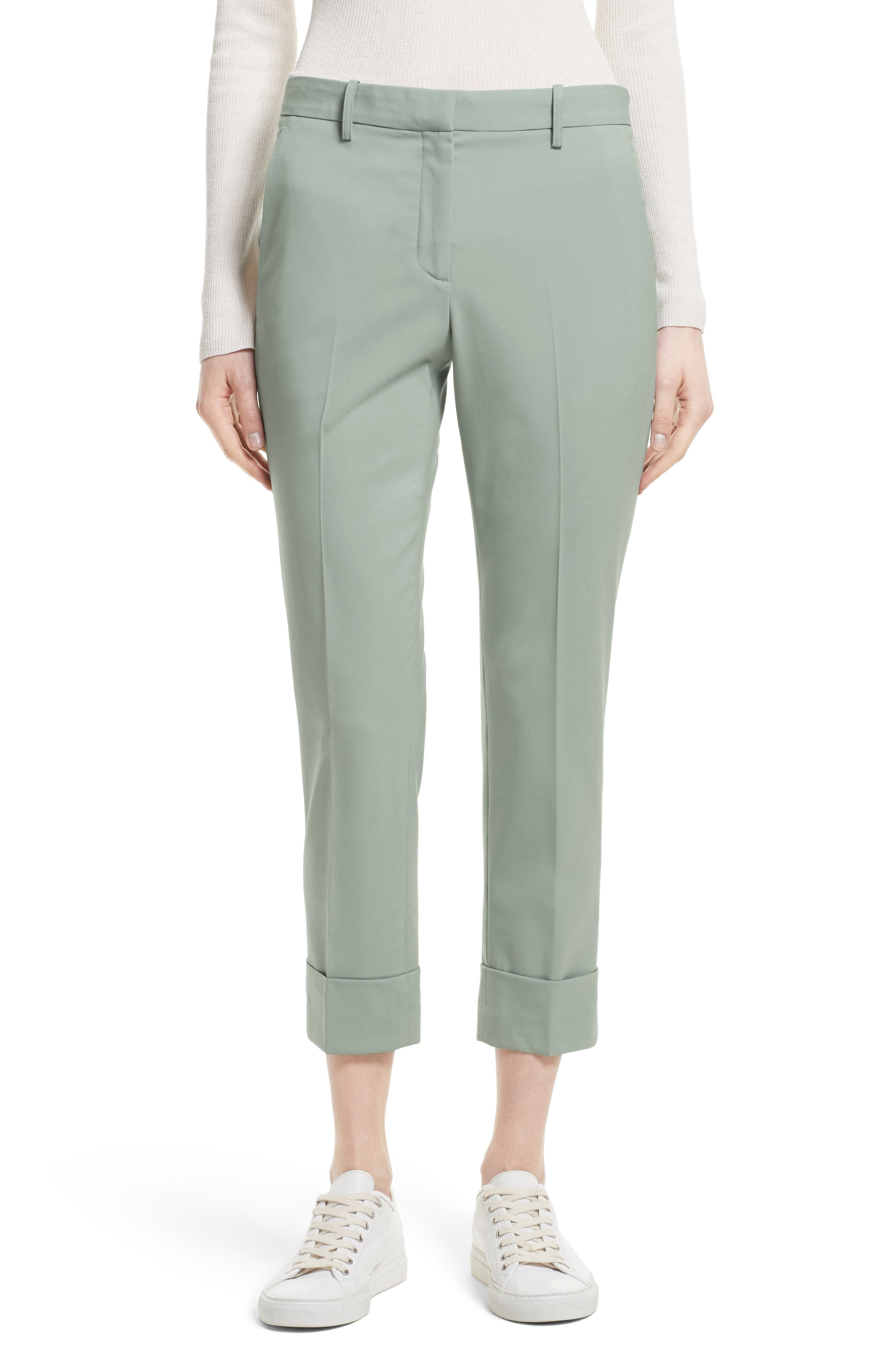 Stretch Wool Crop Pants,                         Main,                         color, Winter Green