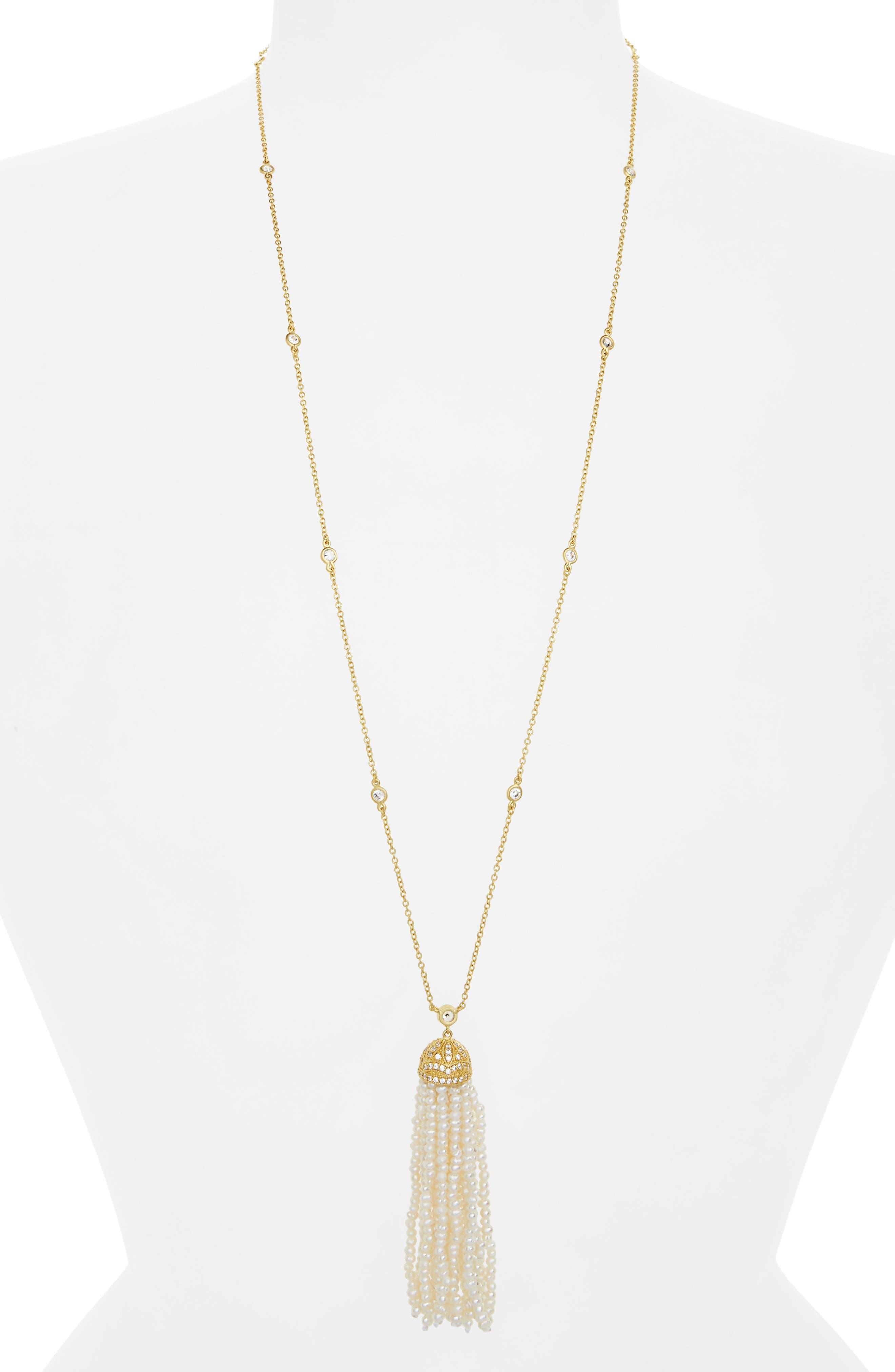 Audrey Tassel Pendant Pearl Necklace,                             Main thumbnail 1, color,                             Gold/ Pearl