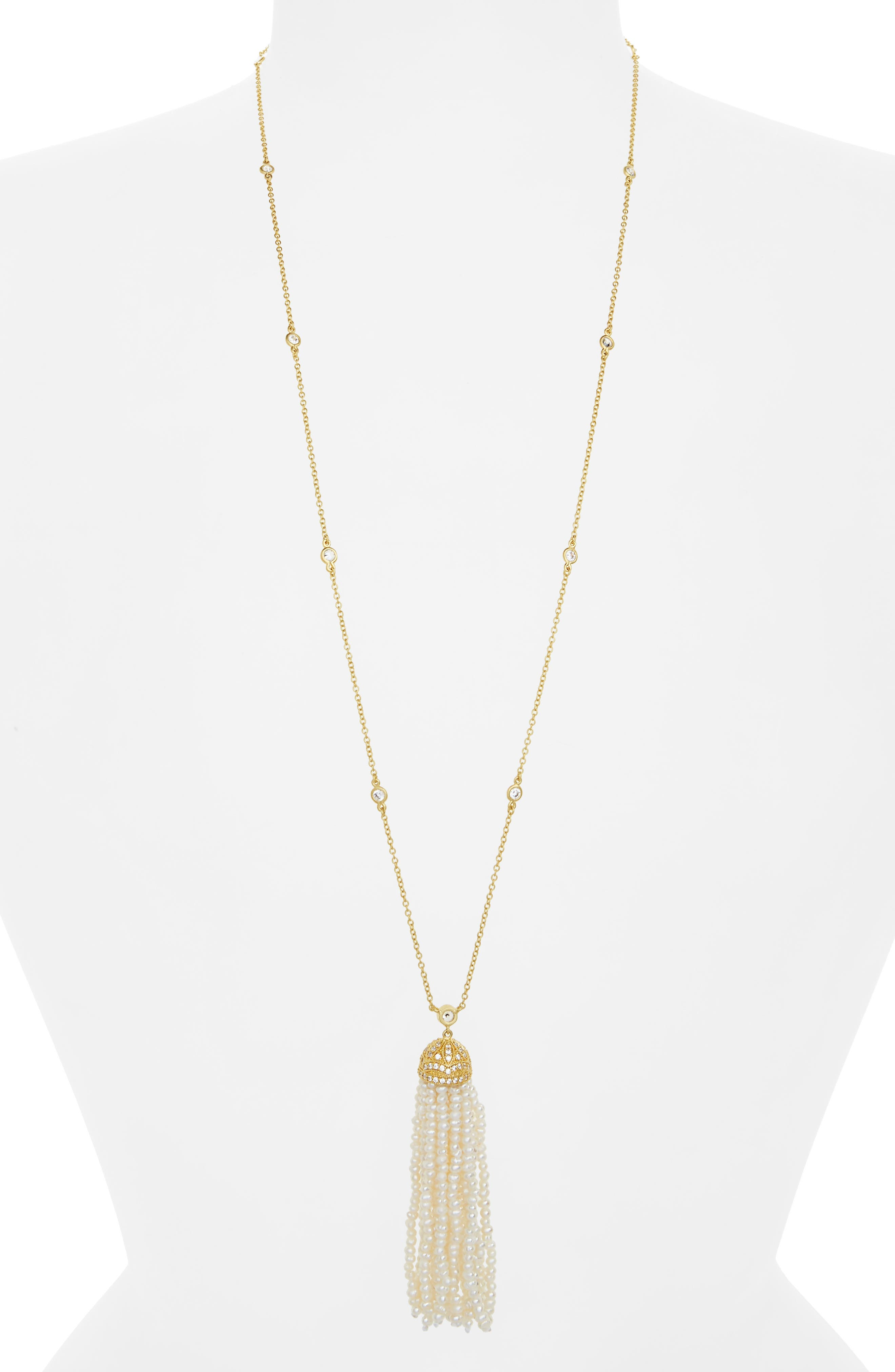 Audrey Tassel Pendant Pearl Necklace,                         Main,                         color, Gold/ Pearl