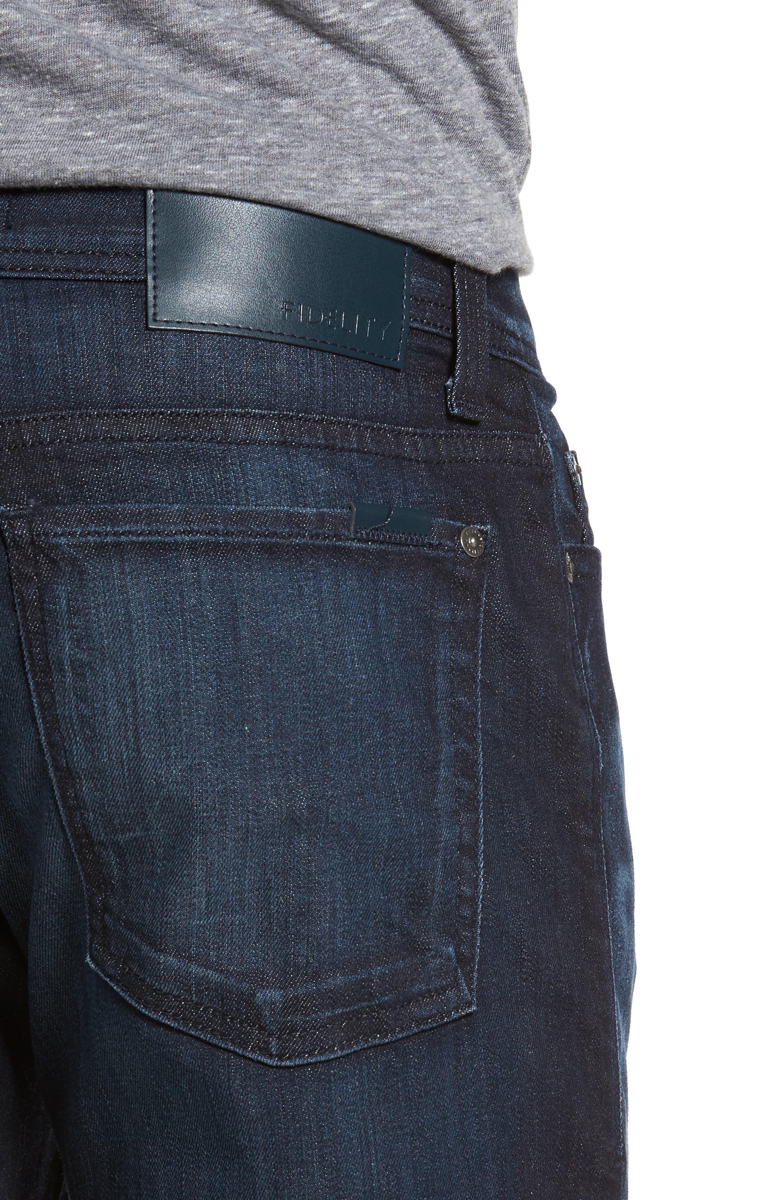 Alternate Image 4  - Fidelity Denim Jimmy Slim Straight Fit Jeans (Brooklyn Blue)