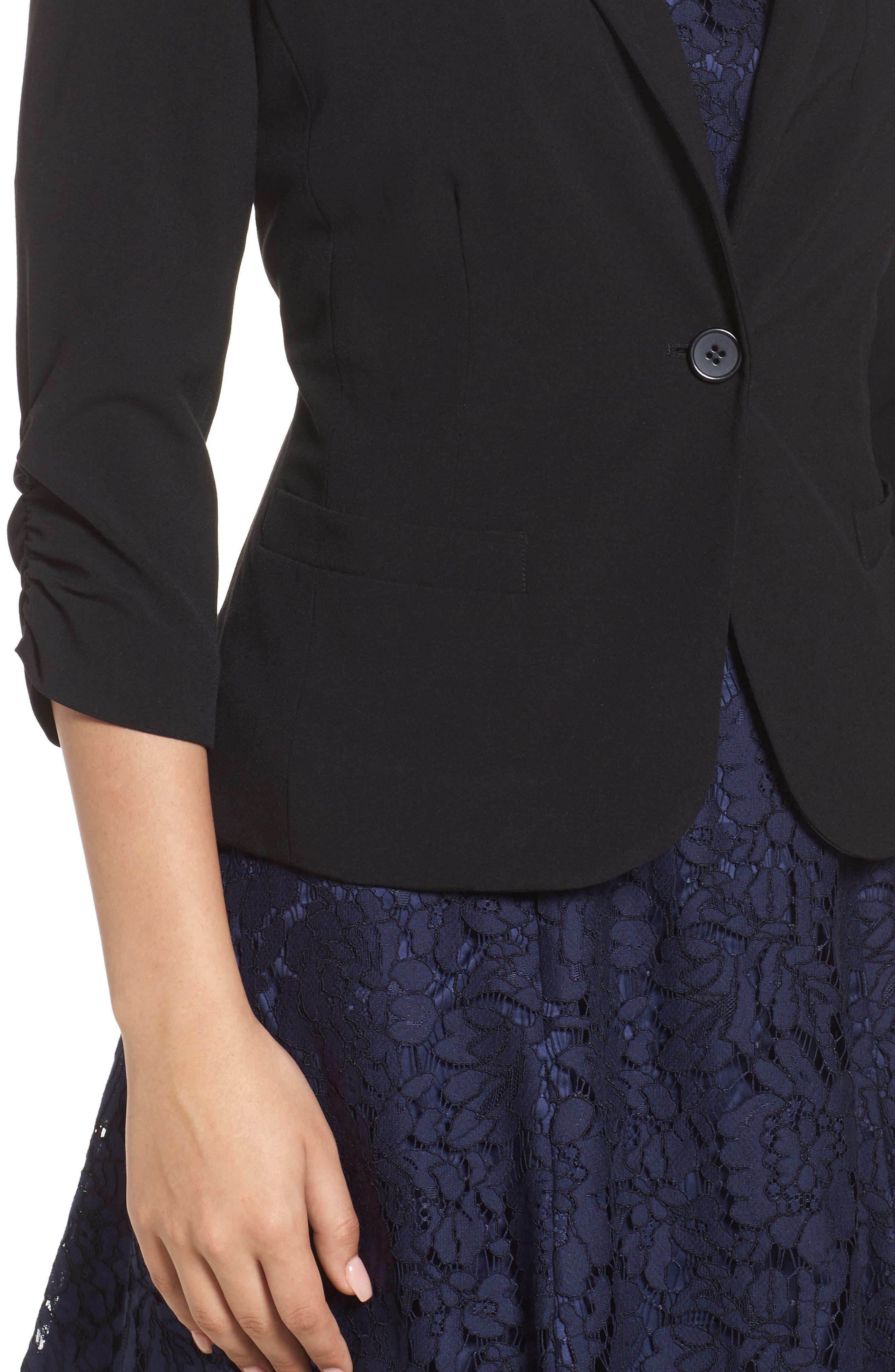 Ruched Sleeve Blazer,                             Alternate thumbnail 4, color,                             Black
