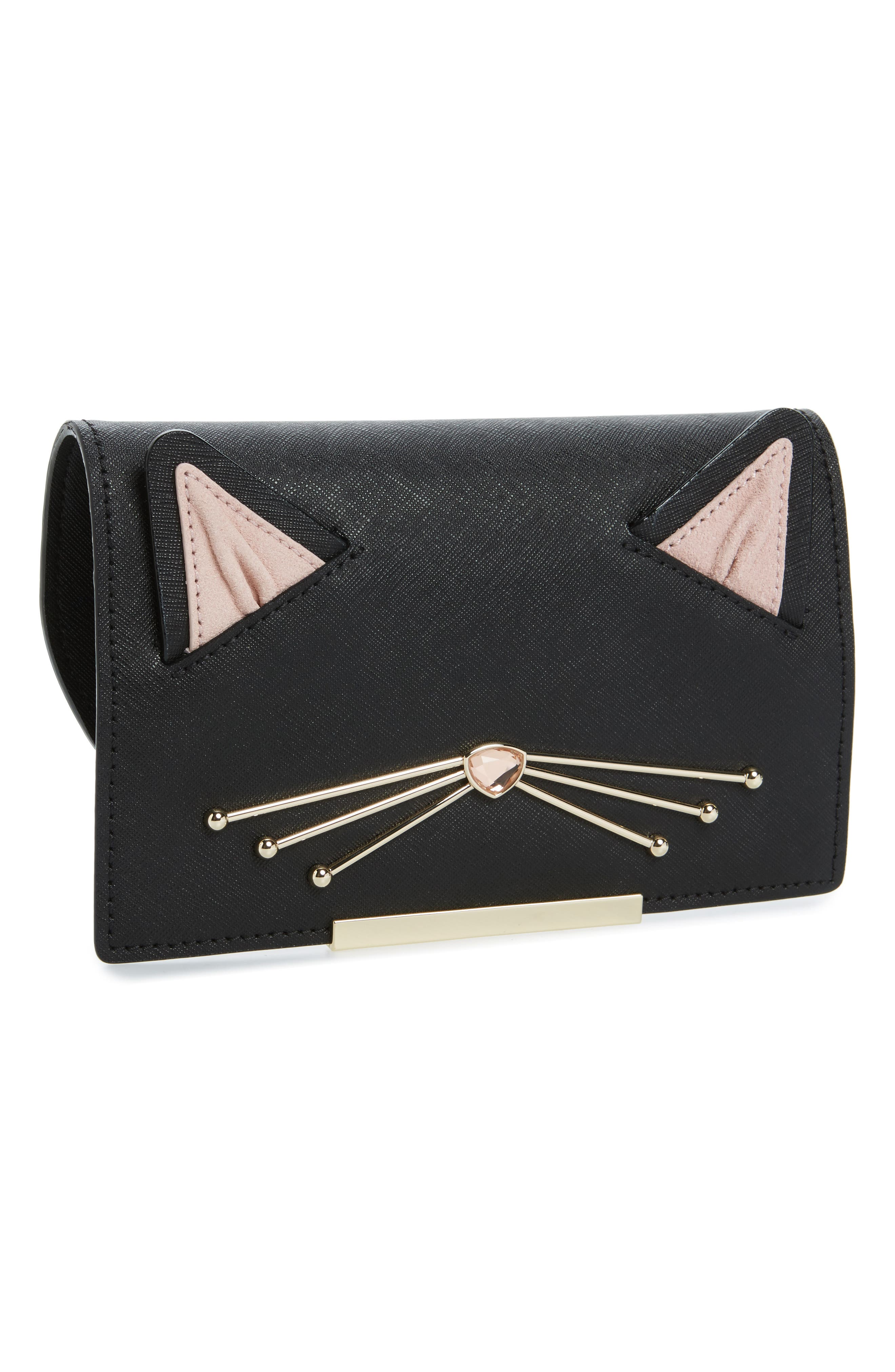 kate spade new york make it mine leather cat snap-on accent flap