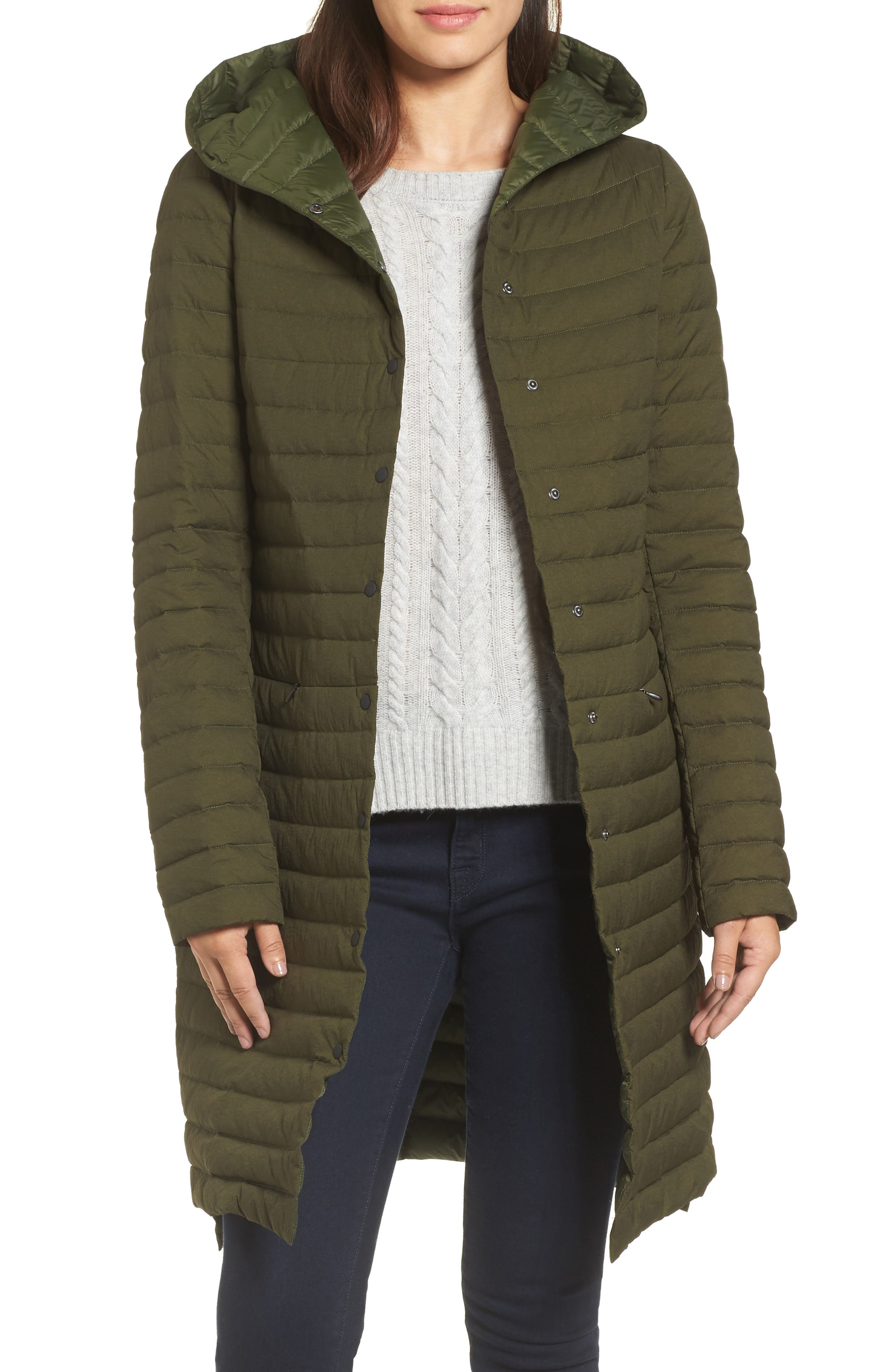 Edith Hooded Long Coat,                         Main,                         color, Olive
