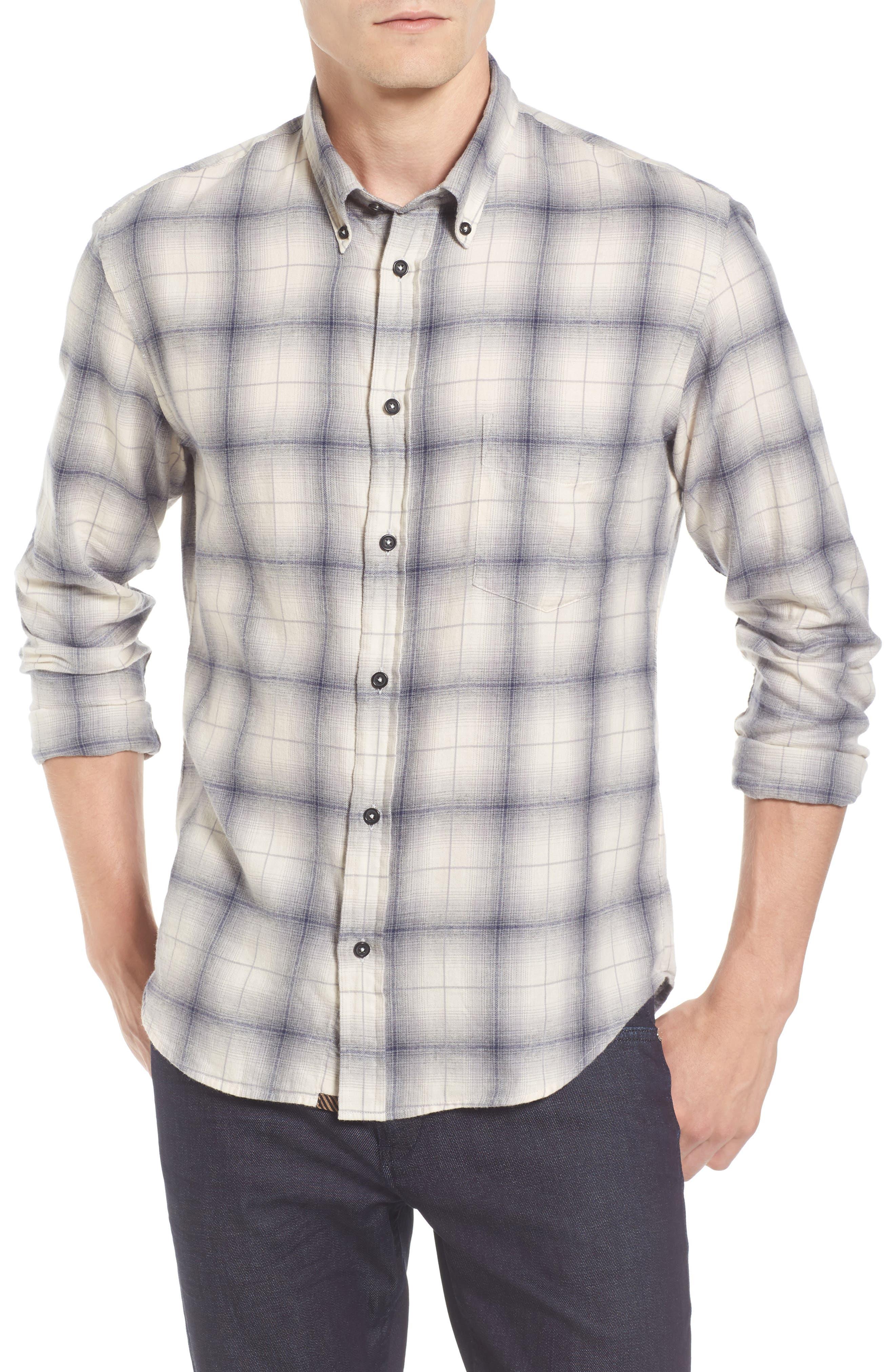 Kirby Slim Fit Plaid Flannel Shirt,                             Main thumbnail 1, color,                             Grey/ Blue