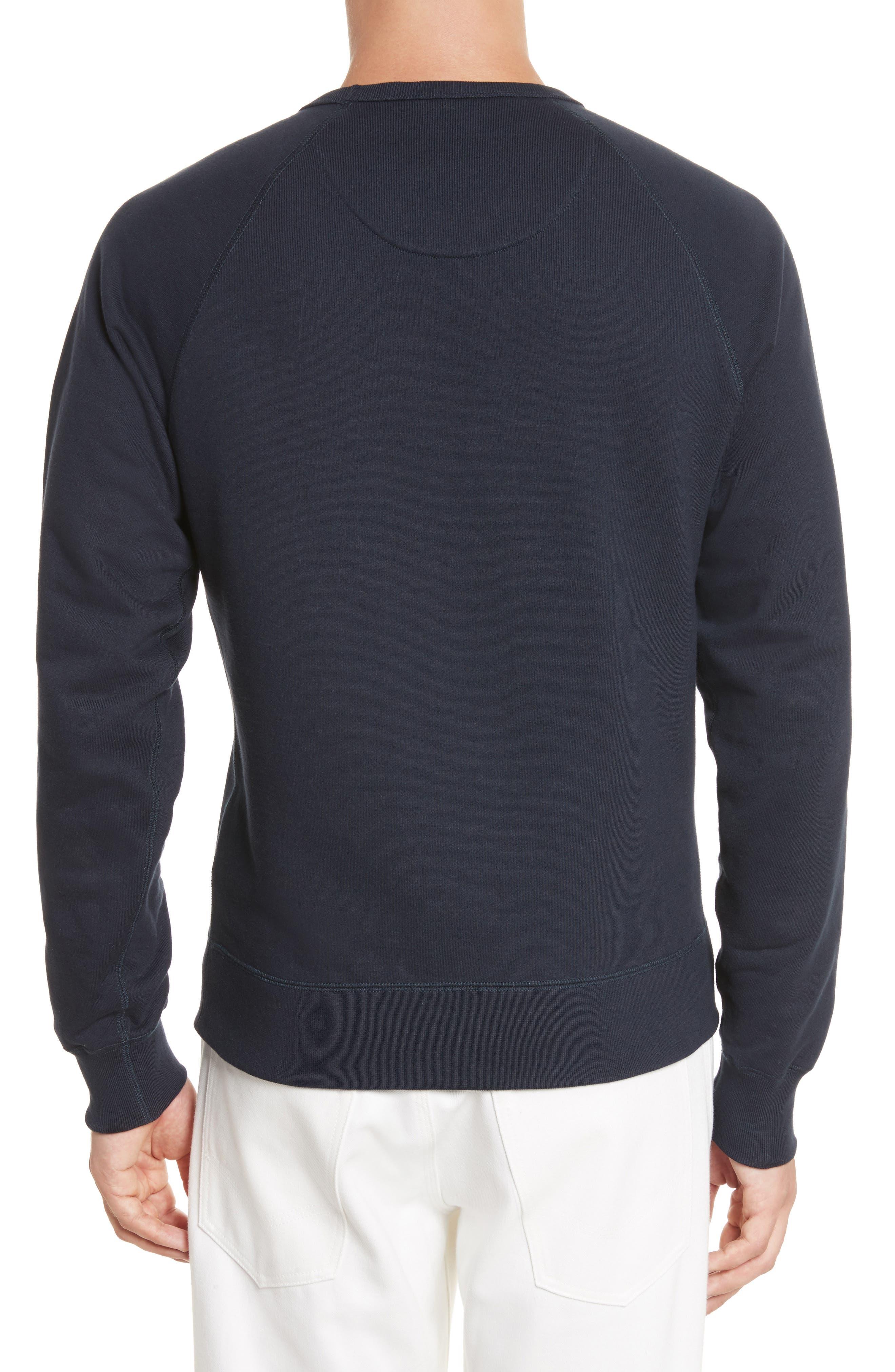 Smile Logo Raglan Crewneck Sweatshirt,                             Alternate thumbnail 2, color,                             Dark Navy