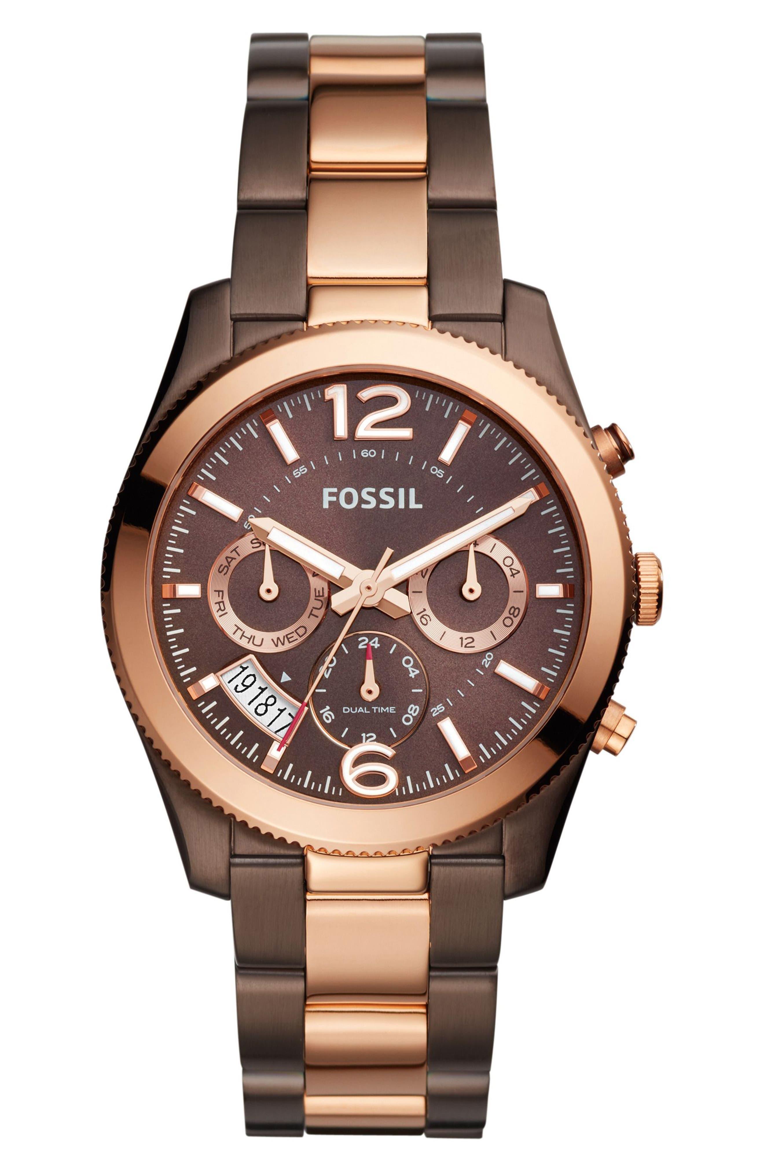 'Perfect Boyfriend' Multifunction Bracelet Watch, 39mm,                         Main,                         color, Brown/ Gold