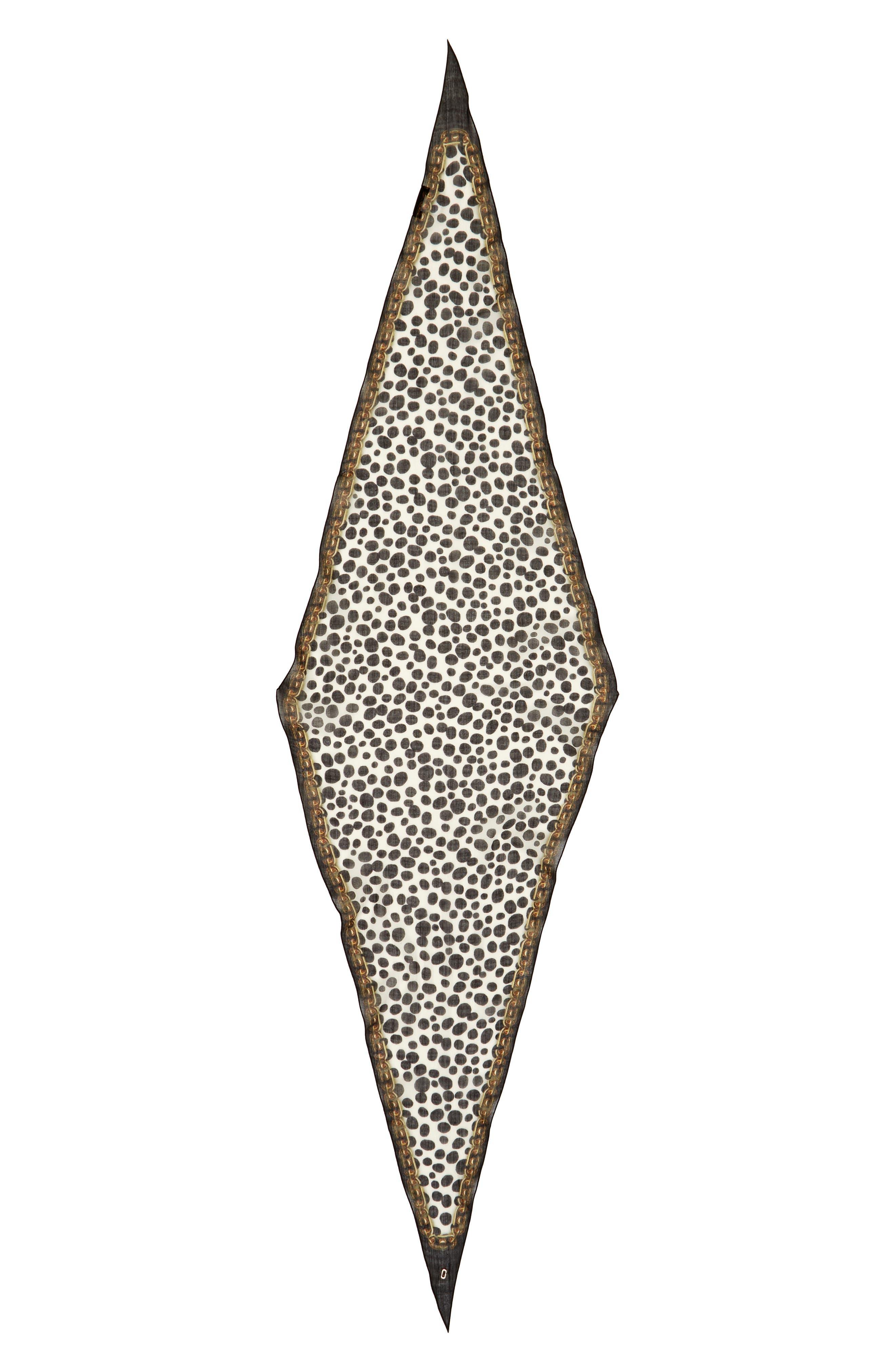 Animal & Chains Diamond Shaped Wool Scarf,                         Main,                         color, Black Multi
