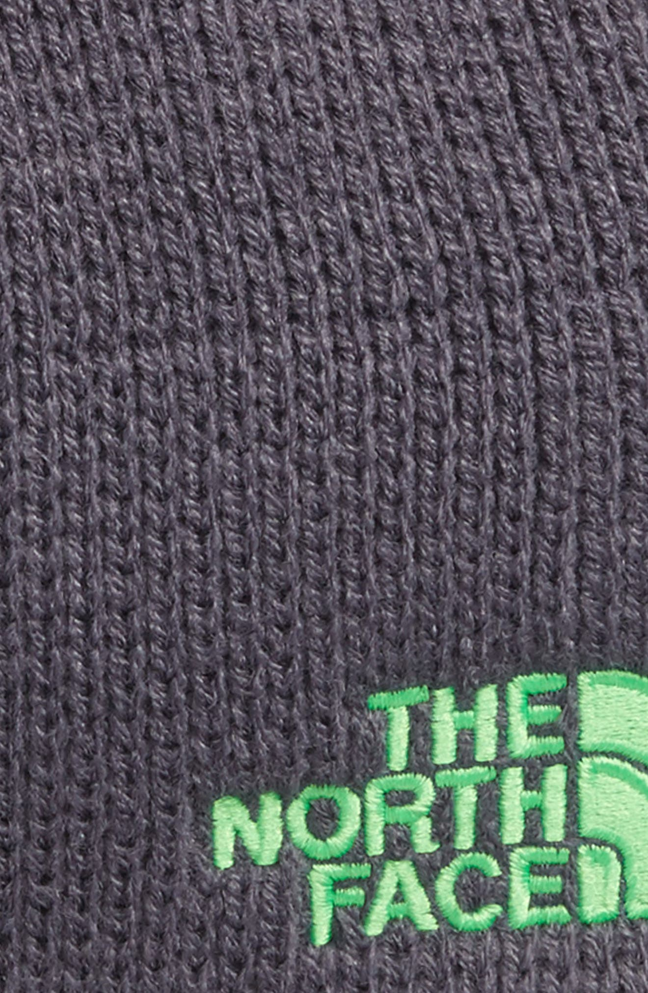 Youth Bones Fleece Lined Beanie,                             Alternate thumbnail 2, color,                             Graphite Grey/ Krypton Green