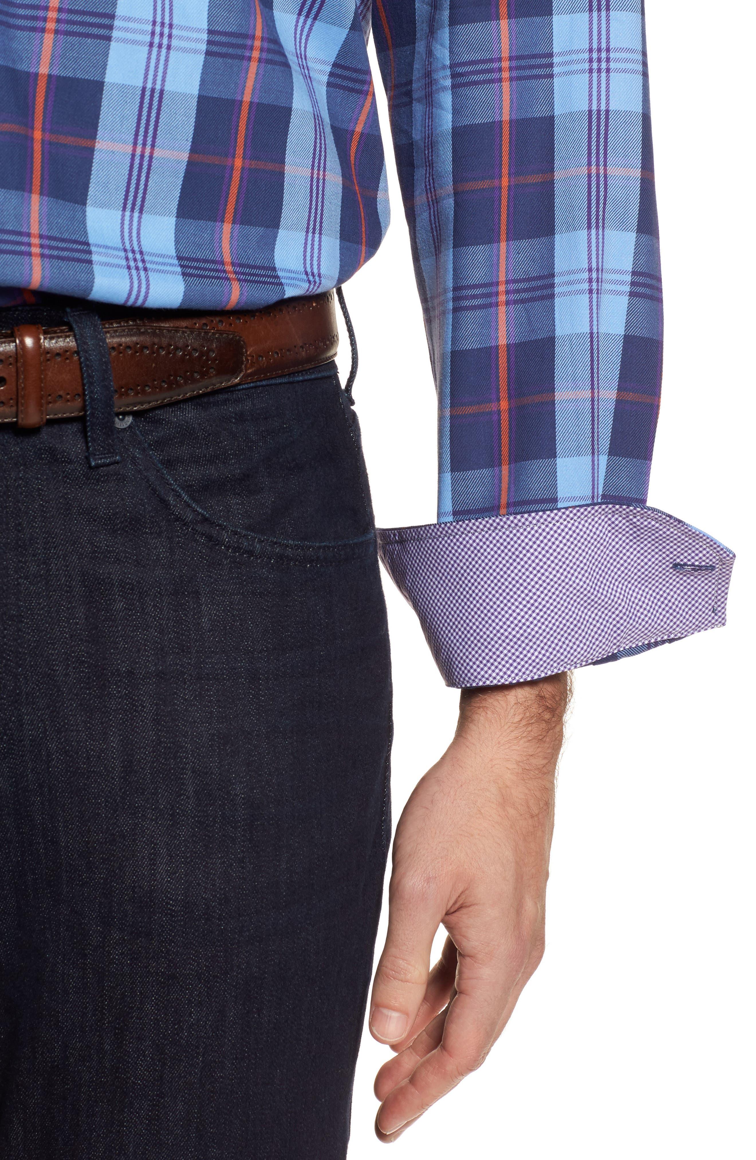 Chauvin Regular Fit Plaid Sport Shirt,                             Alternate thumbnail 4, color,                             Navy