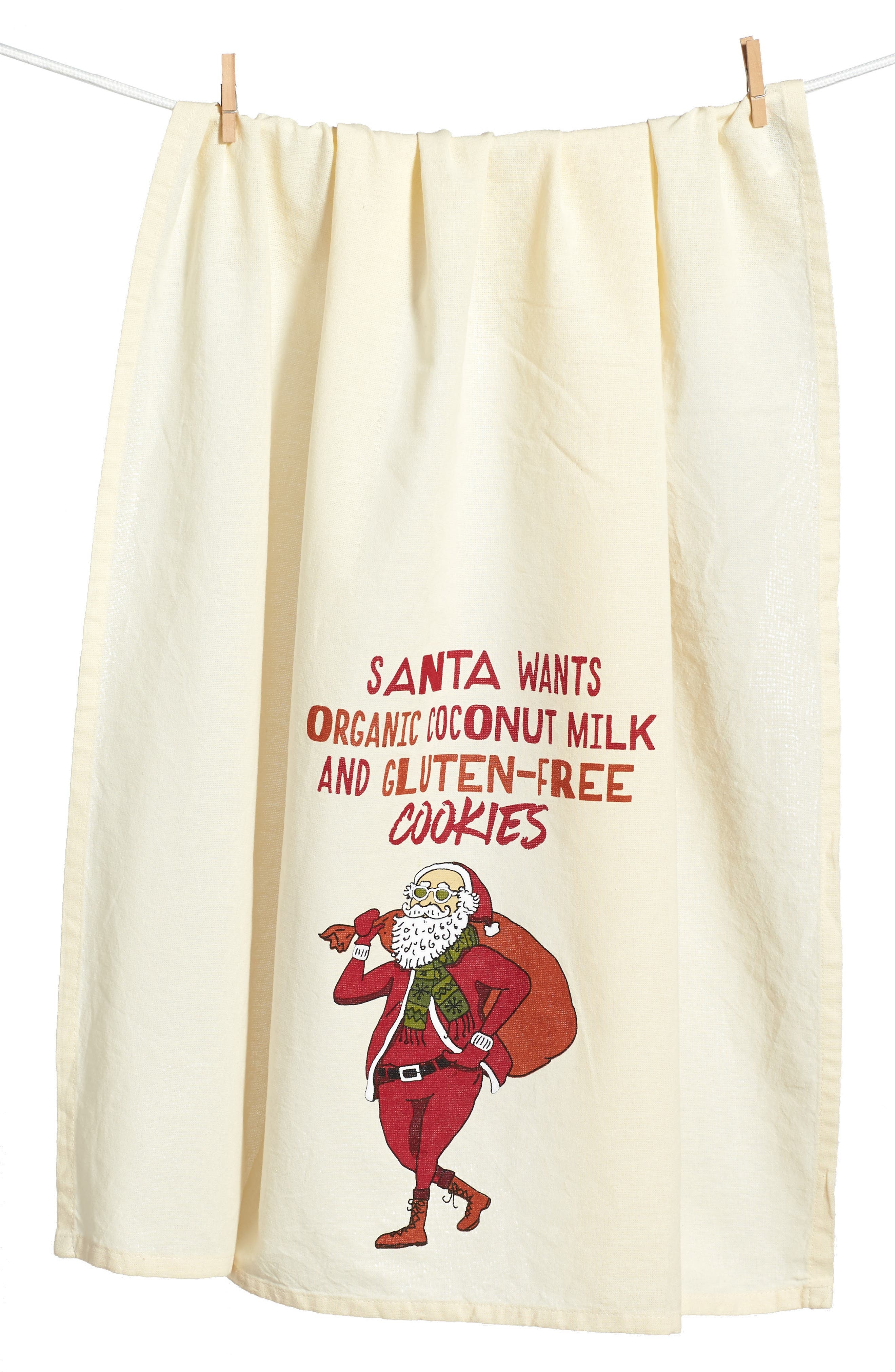 Hipster Santa Dish Towel,                         Main,                         color, Ivory