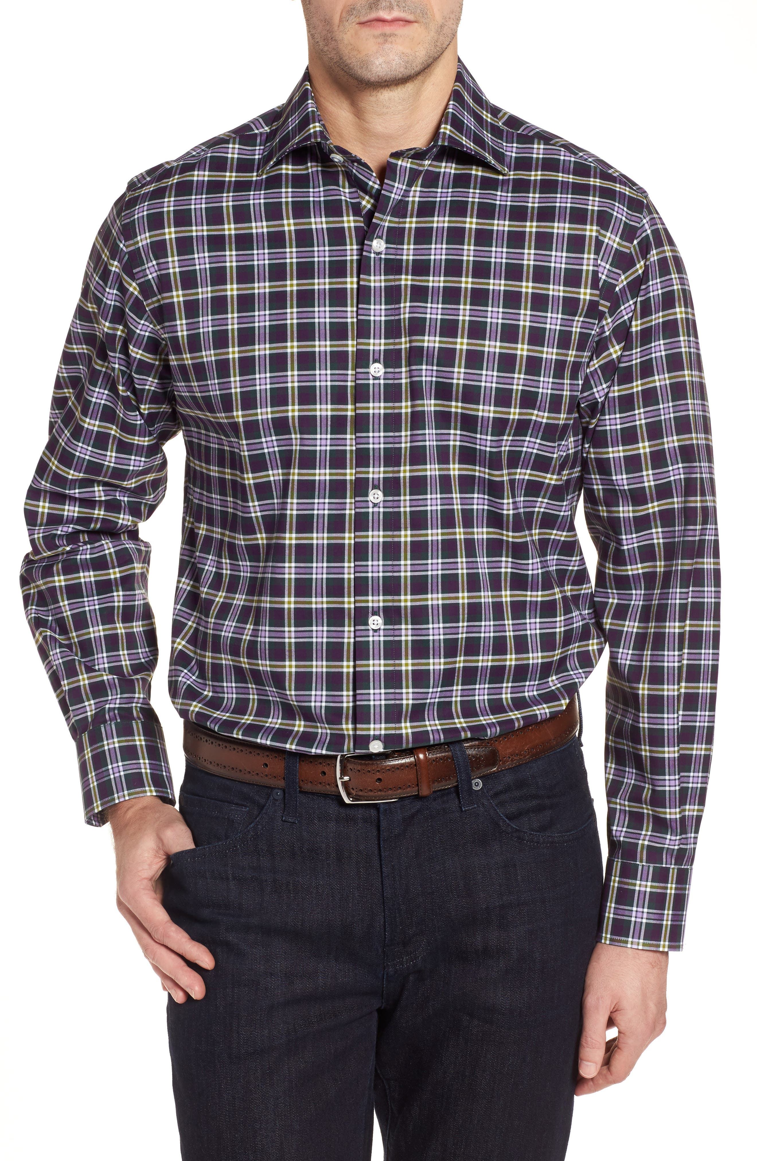 Alternate Image 1 Selected - TailorByrd Calhoun Regular Fit Check Sport Shirt