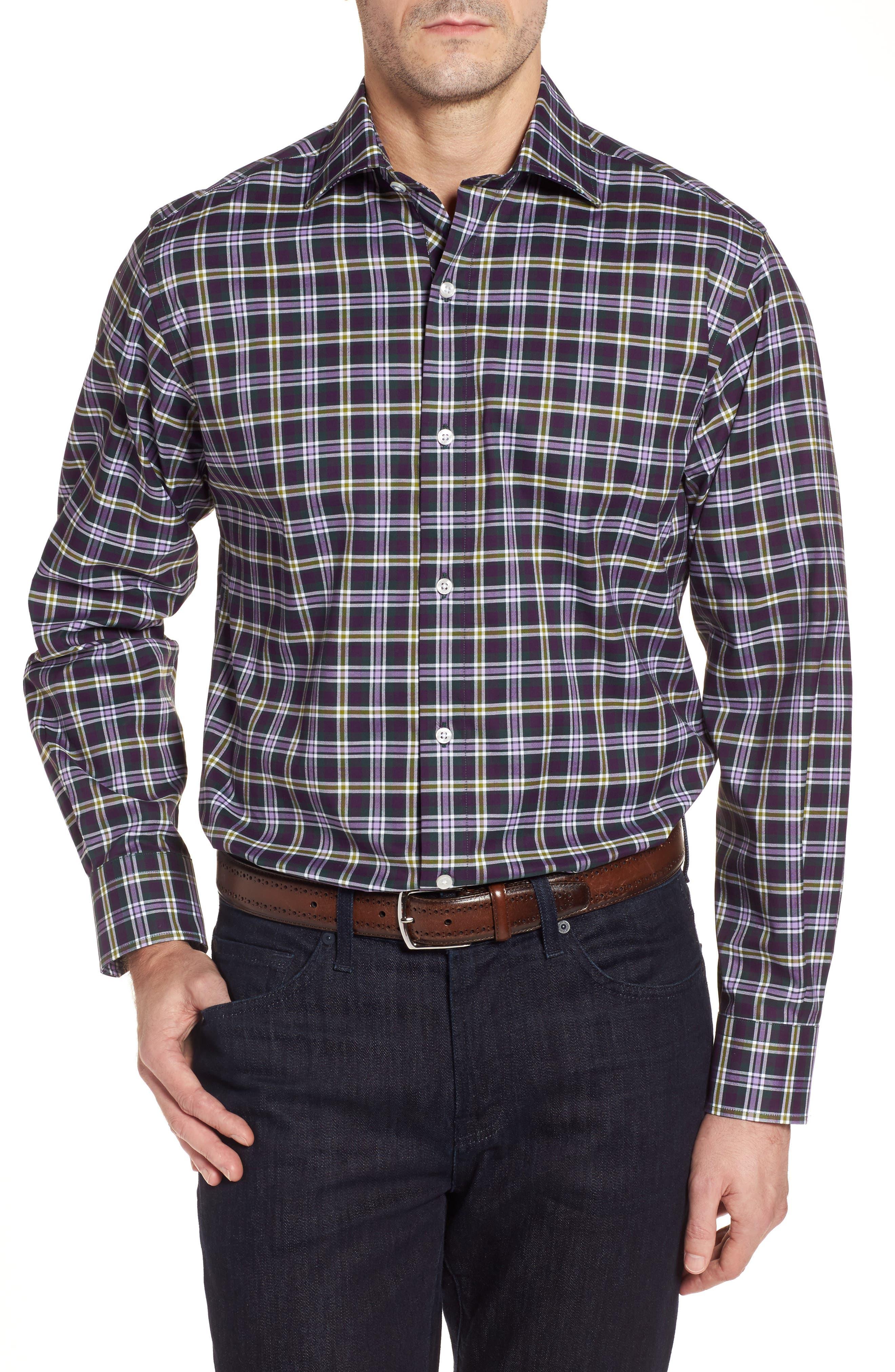 Calhoun Regular Fit Check Sport Shirt,                         Main,                         color, Lavender