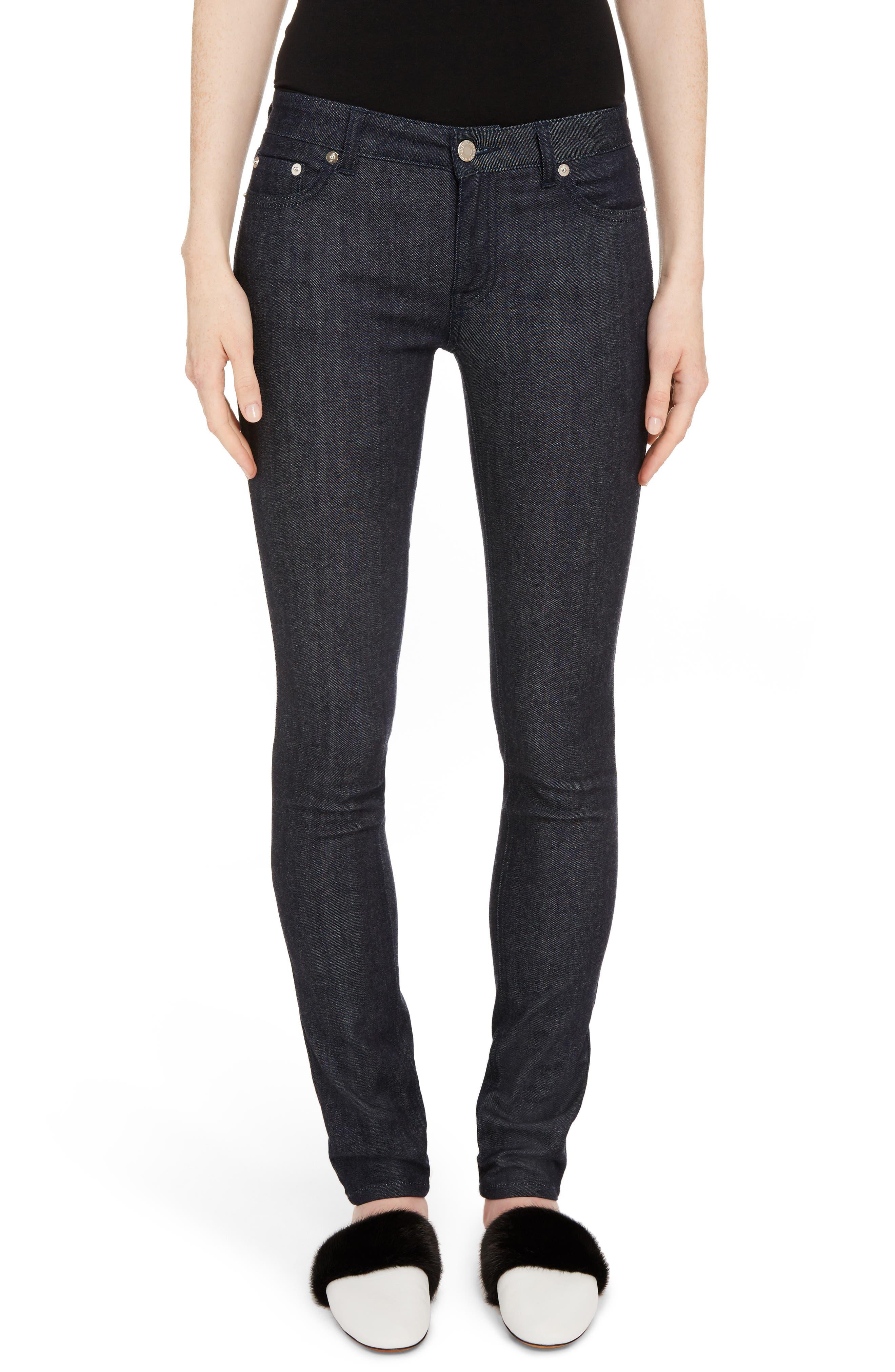 Tab Logo Skinny Jeans,                         Main,                         color, Dark Indigo