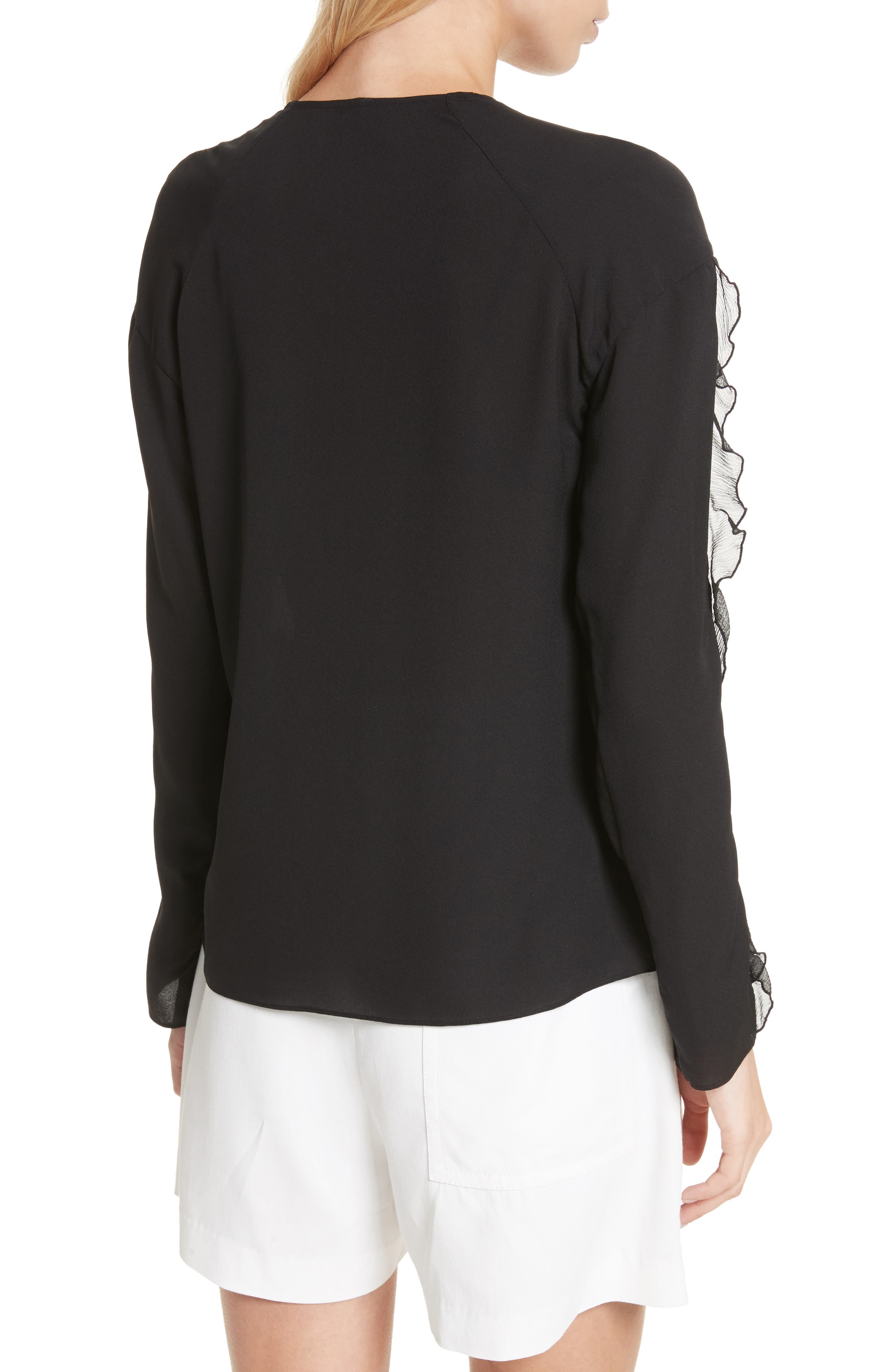 Ruffle Sleeve Silk Blouse,                             Alternate thumbnail 2, color,                             Black