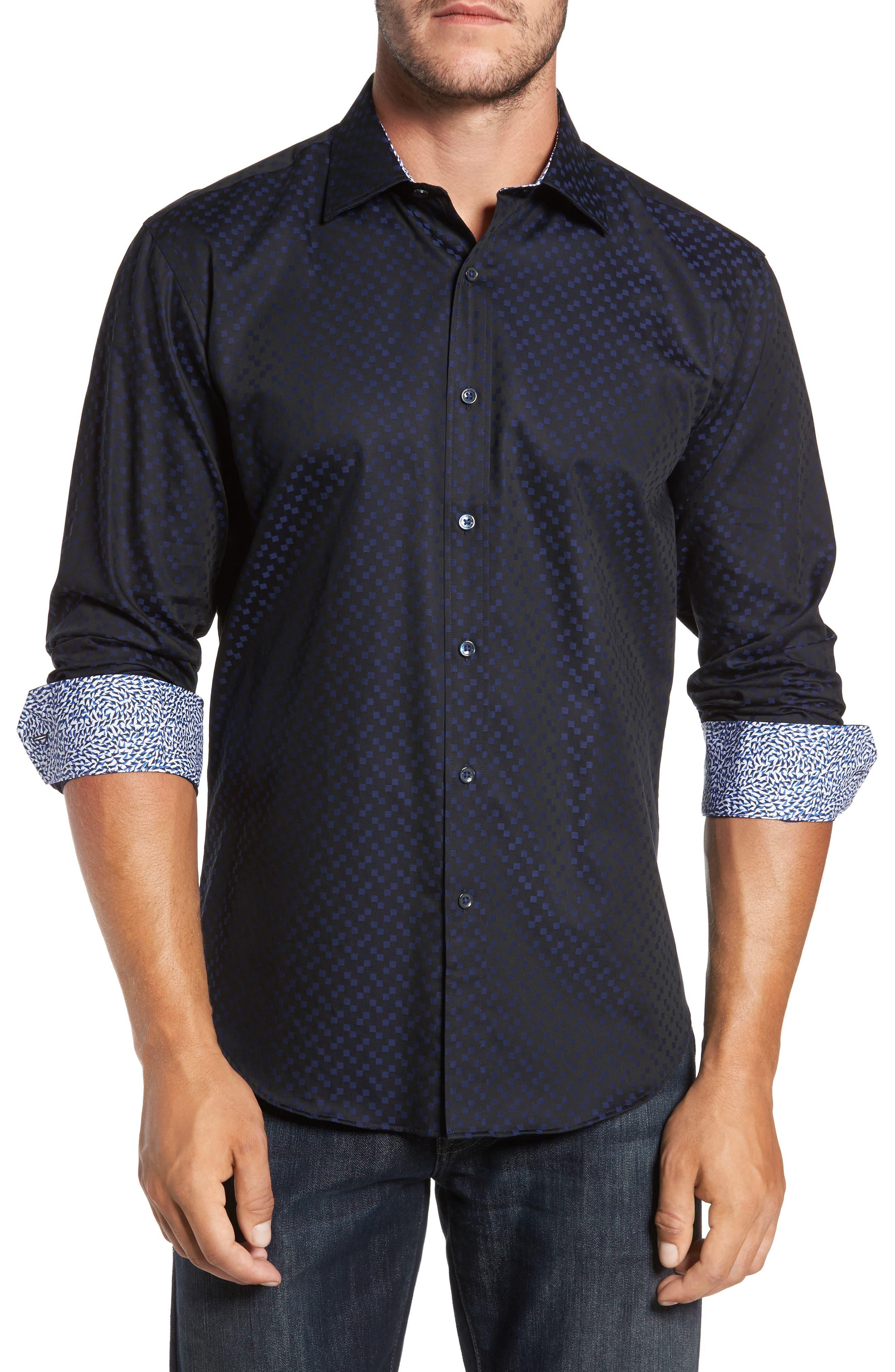 Main Image - Bugatchi Trim Fit Geo Jacquard Sport Shirt