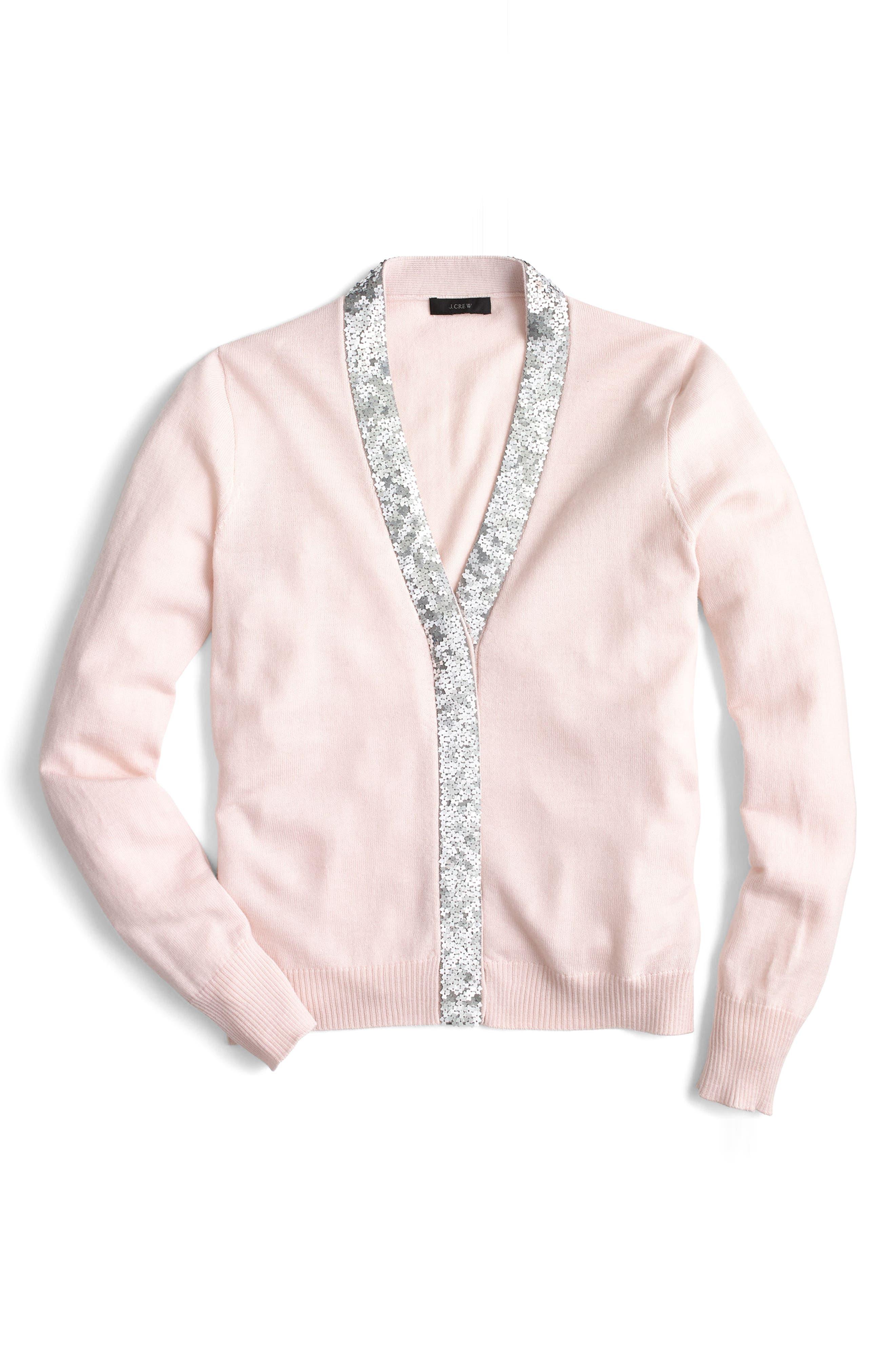 Harlow Sequin Placket Cardigan,                         Main,                         color, Blush