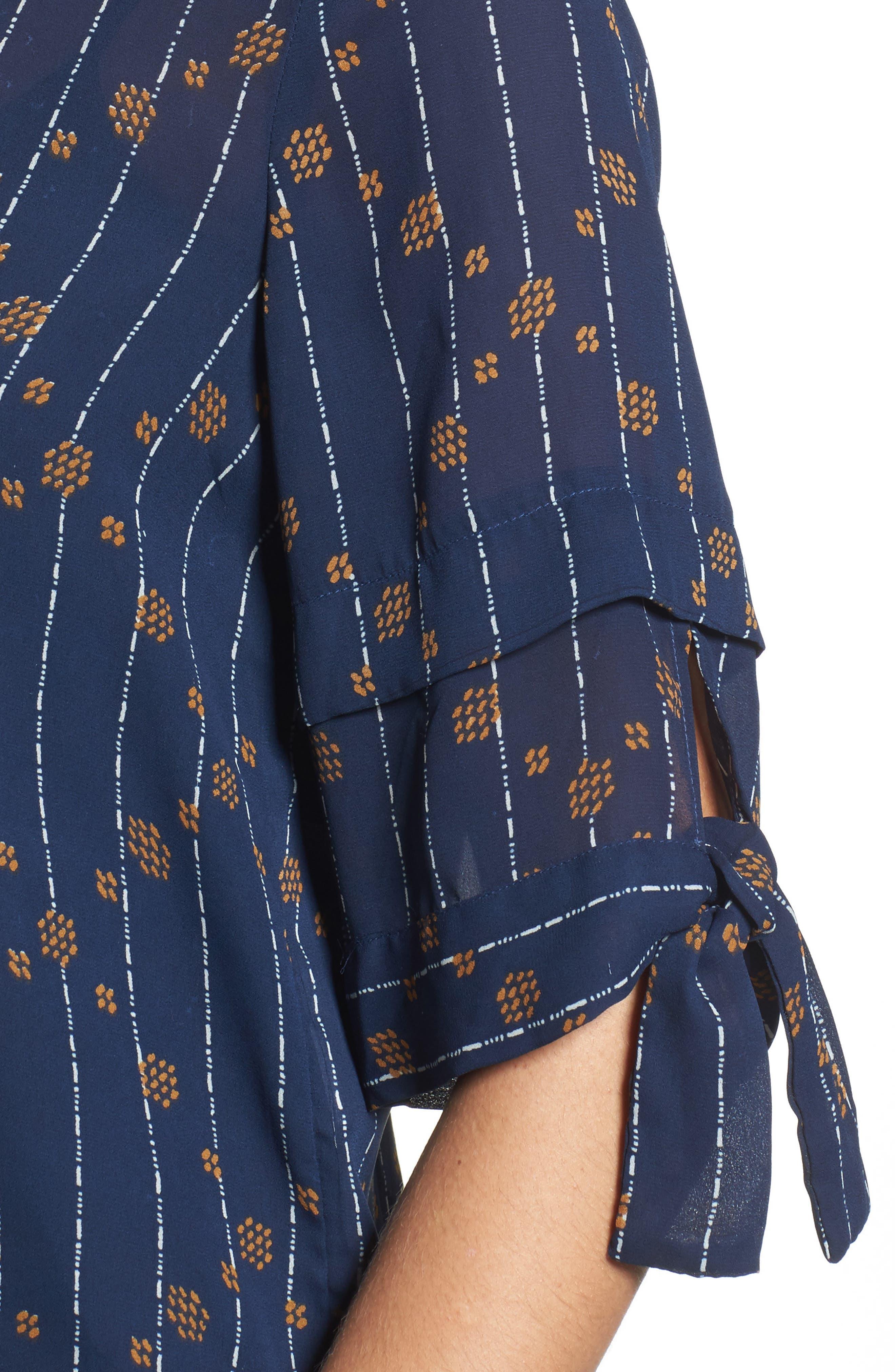 Tie Sleeve Geo Print Top,                             Alternate thumbnail 4, color,                             Navy Multi