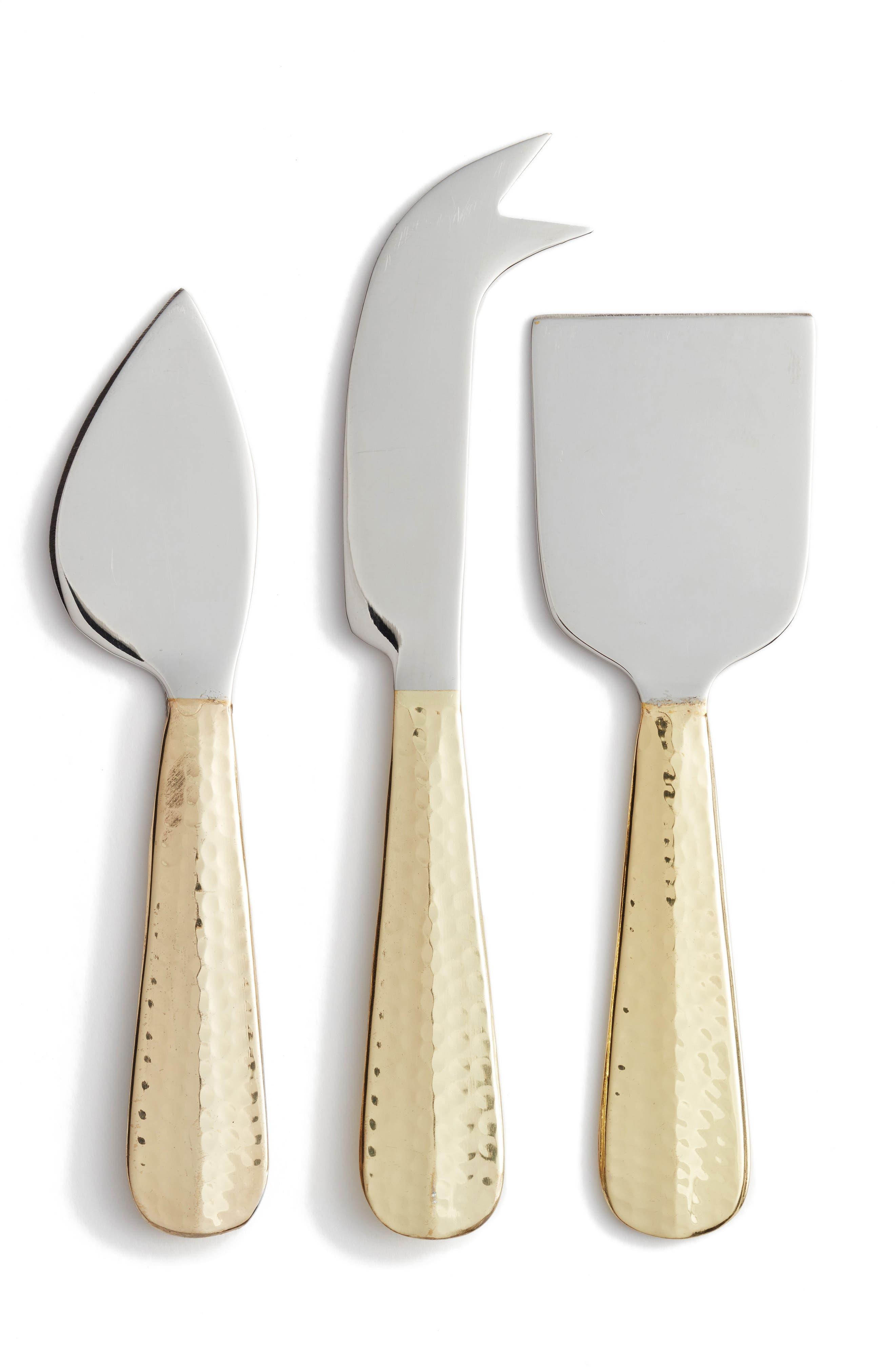 Set of 3 Cheese Knives,                             Main thumbnail 1, color,                             Gold