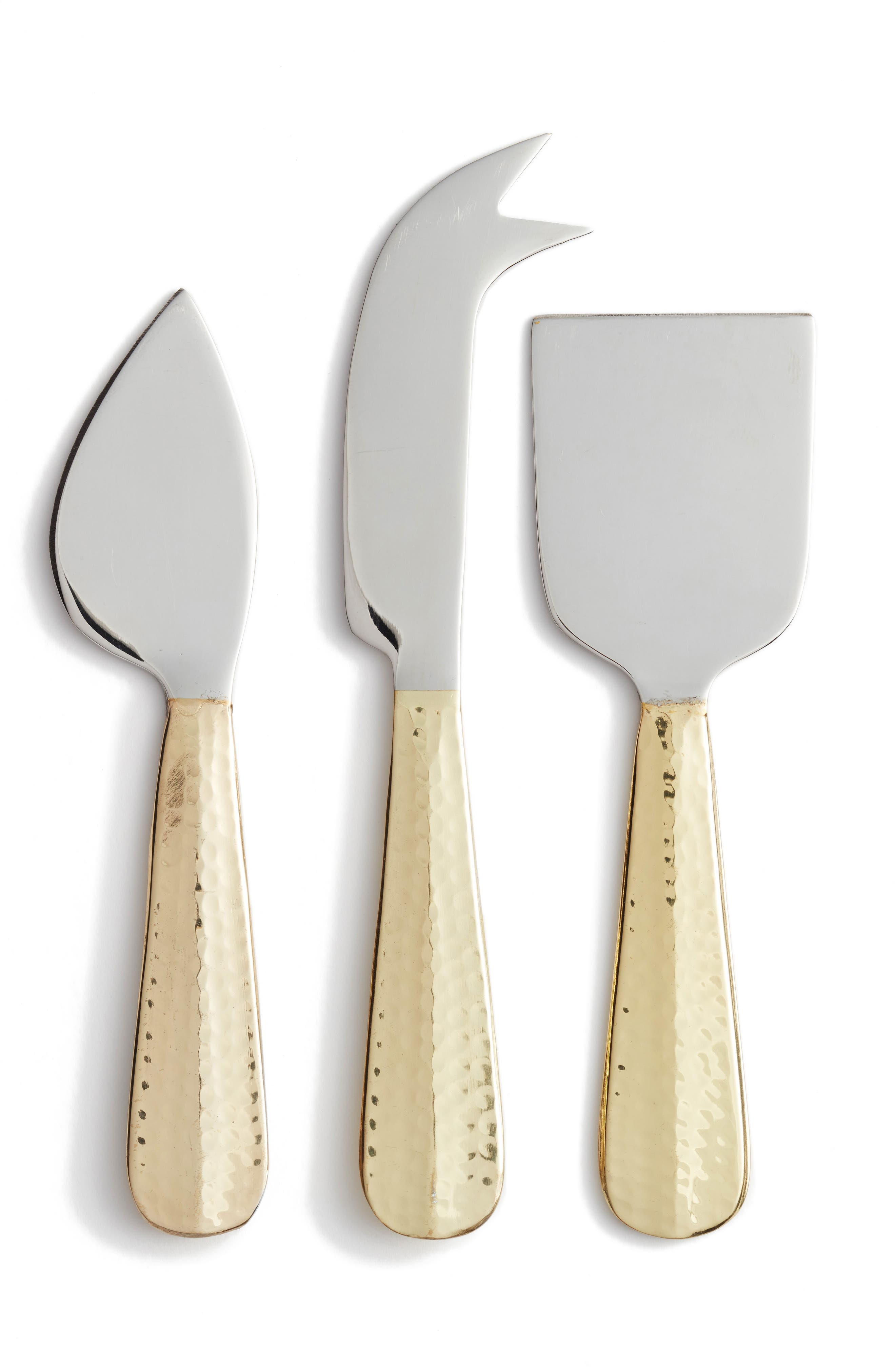 Set of 3 Cheese Knives,                         Main,                         color, Gold