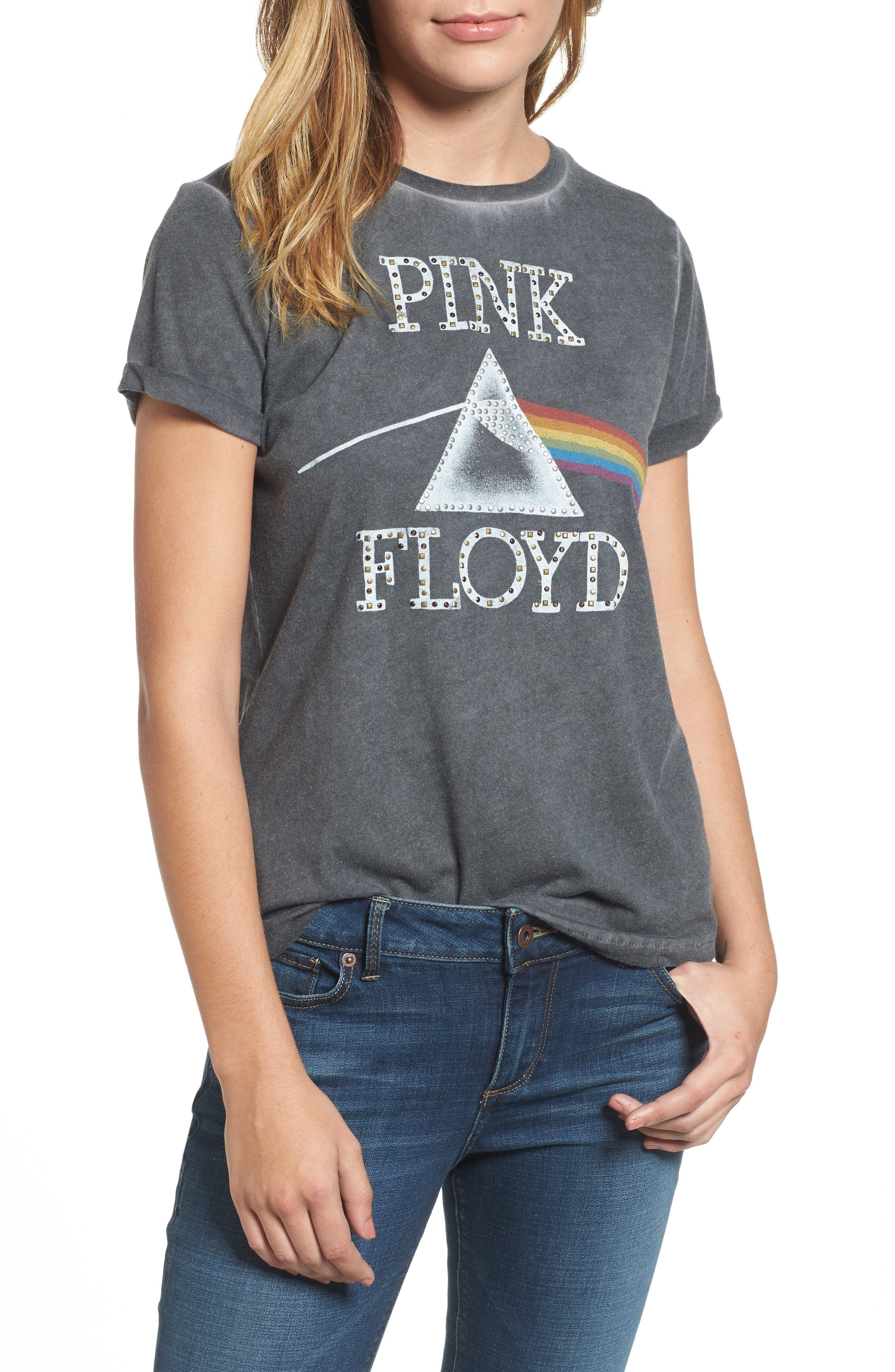 Alternate Image 1 Selected - Lucky Brand Studded Pink Floyd Tee