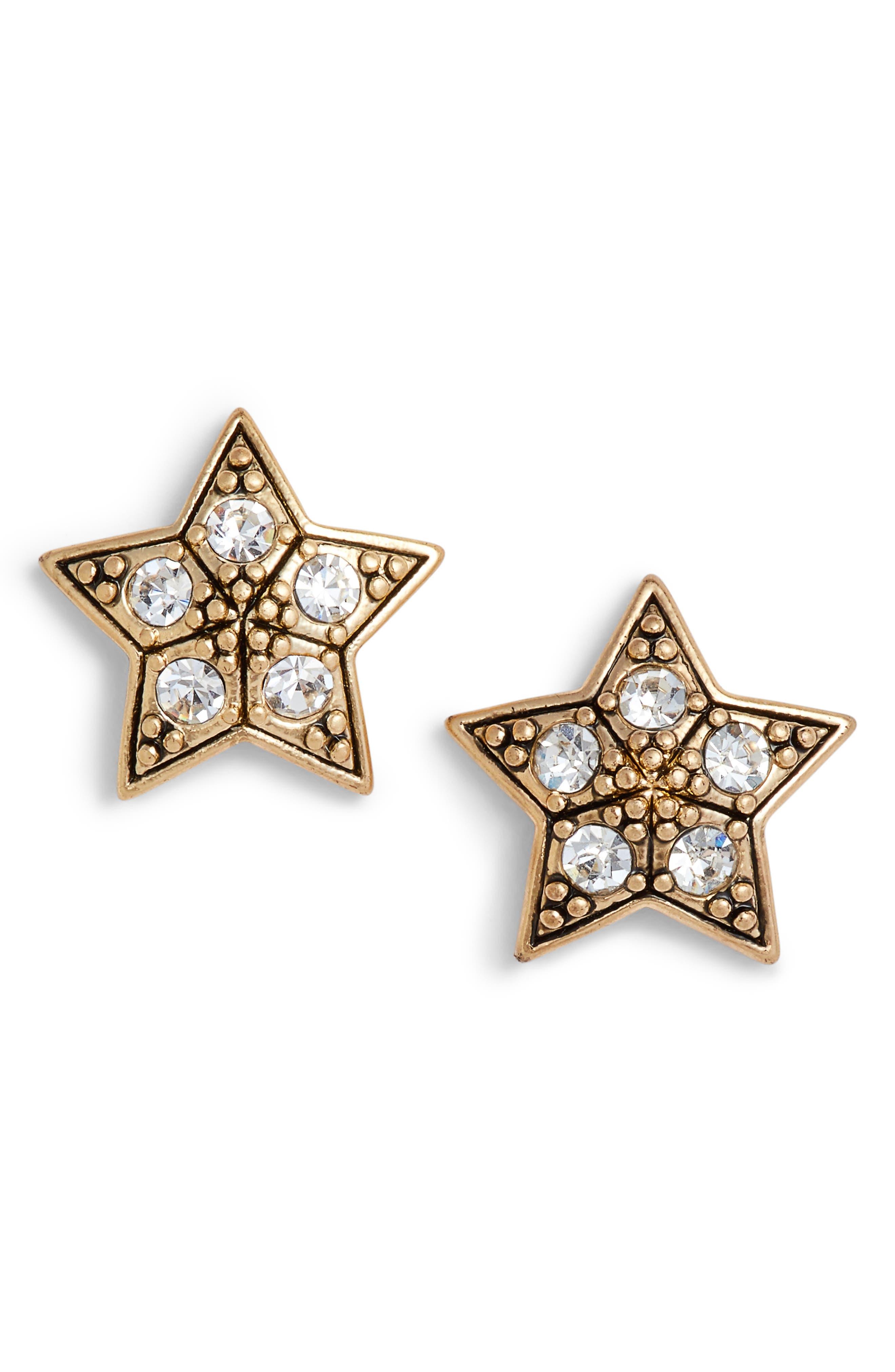 Star Stud Earrings,                         Main,                         color, Gold/ Crystal