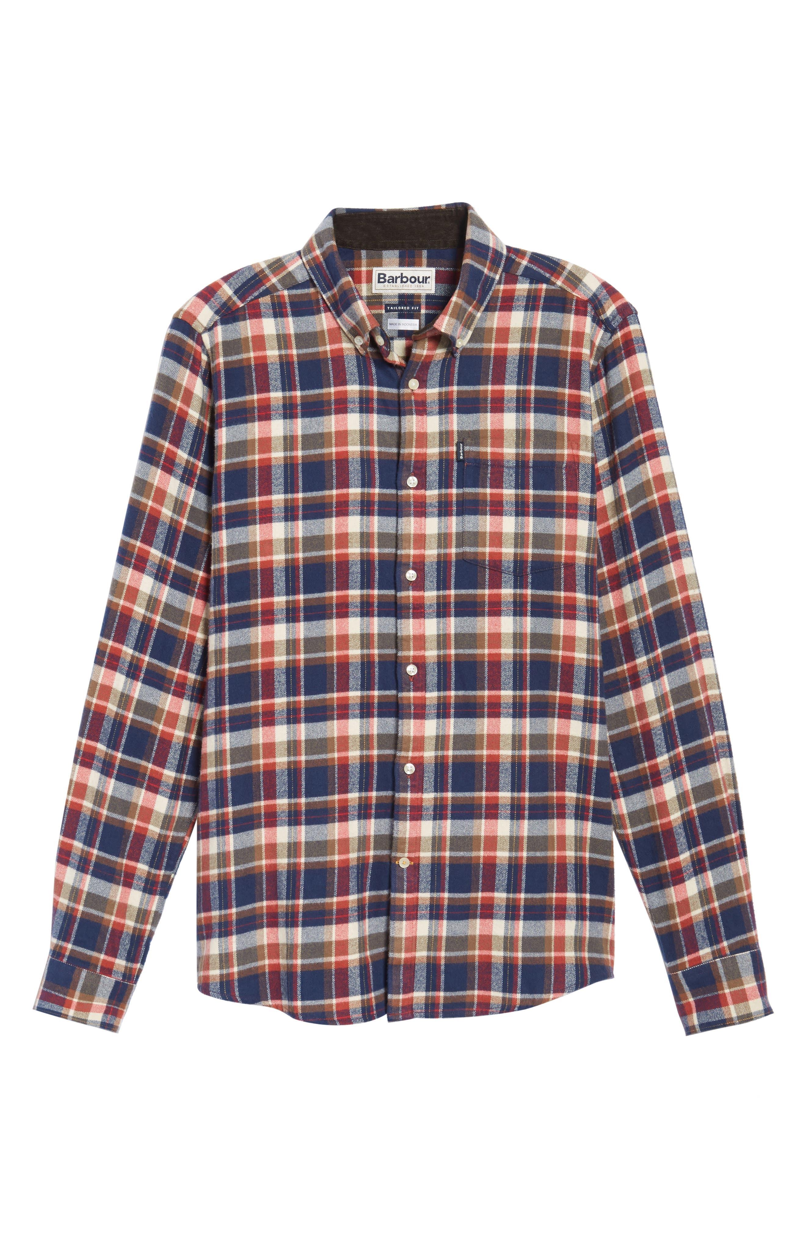 Blake Plaid Sport Shirt,                             Alternate thumbnail 6, color,                             Red