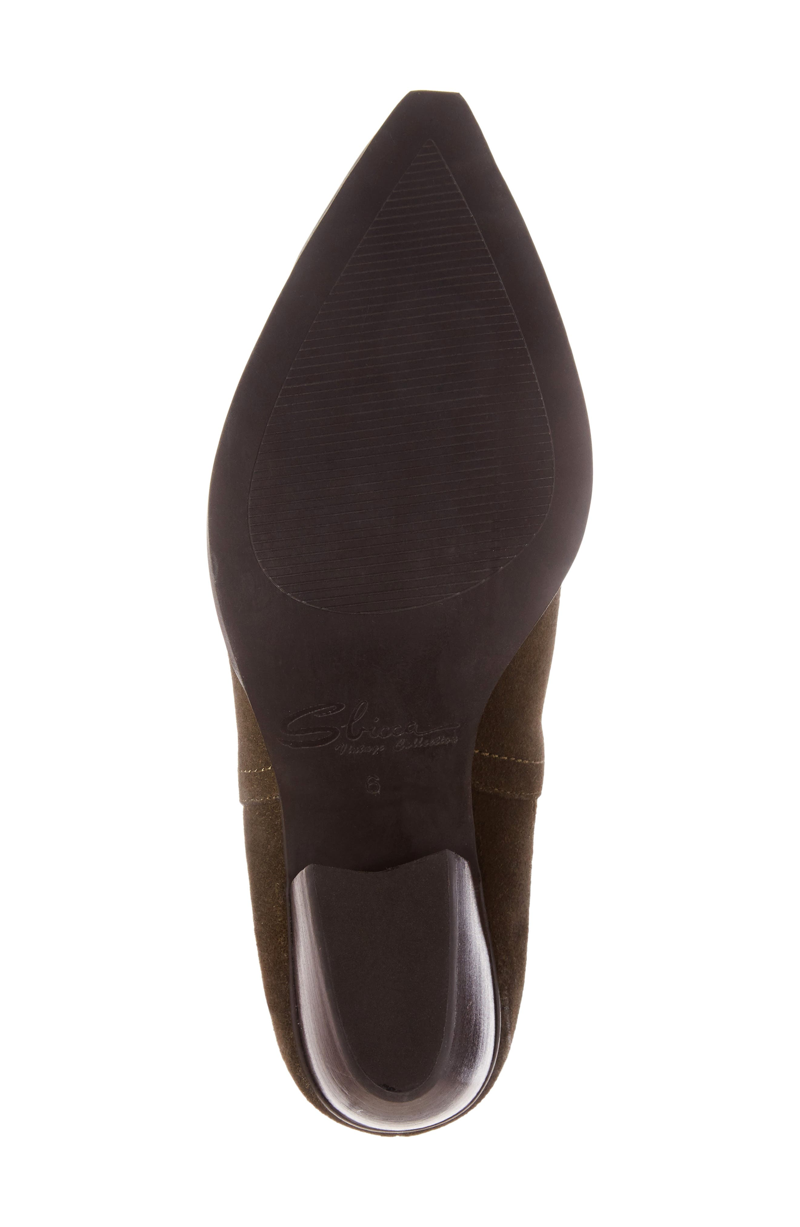 Cardinal Pointy Toe Bootie,                             Alternate thumbnail 6, color,                             Khaki Suede