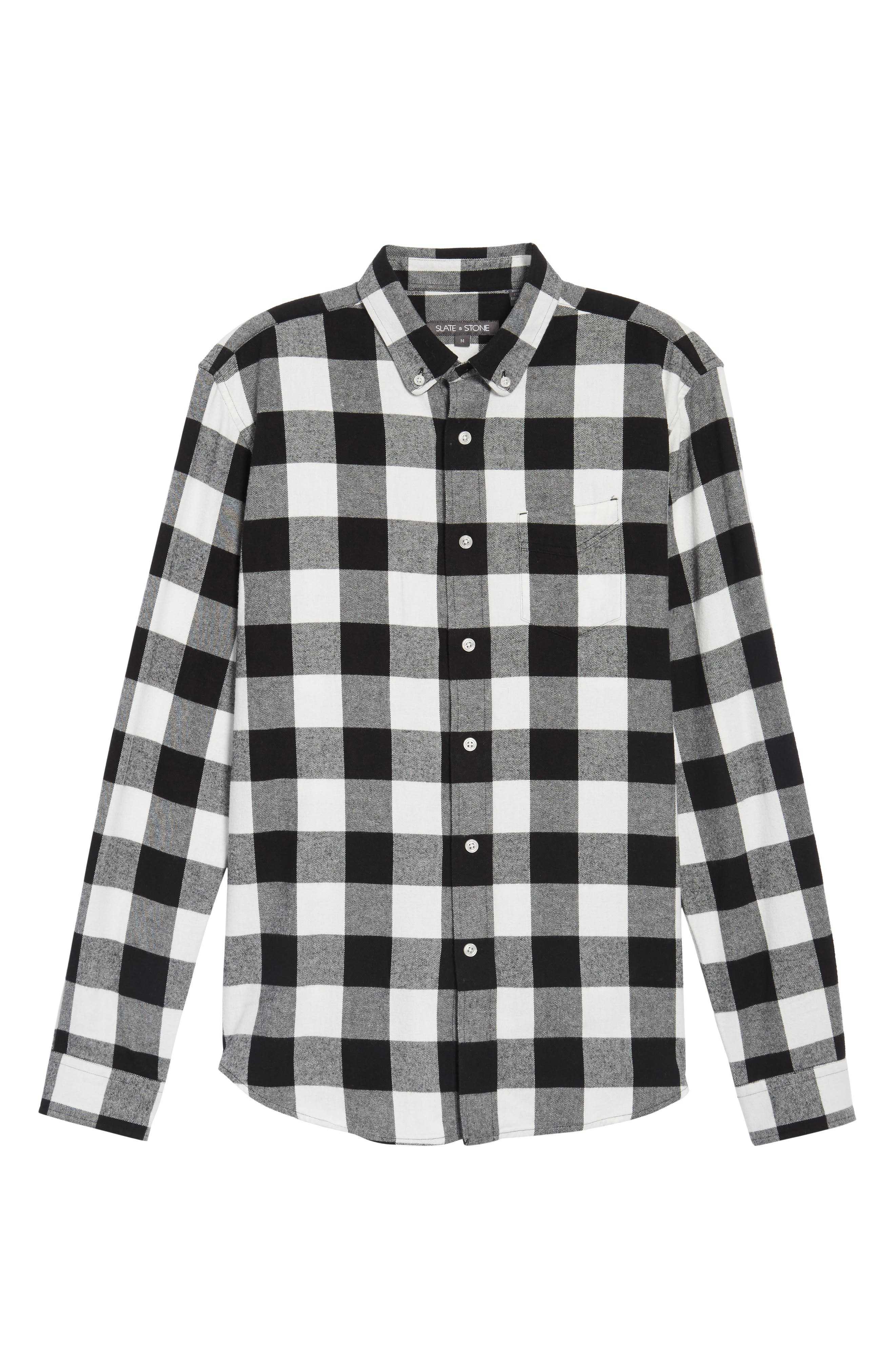 Trim Fit Buffalo Plaid Flannel Sport Shirt,                             Alternate thumbnail 6, color,                             Black/ White Buffalo Plaid