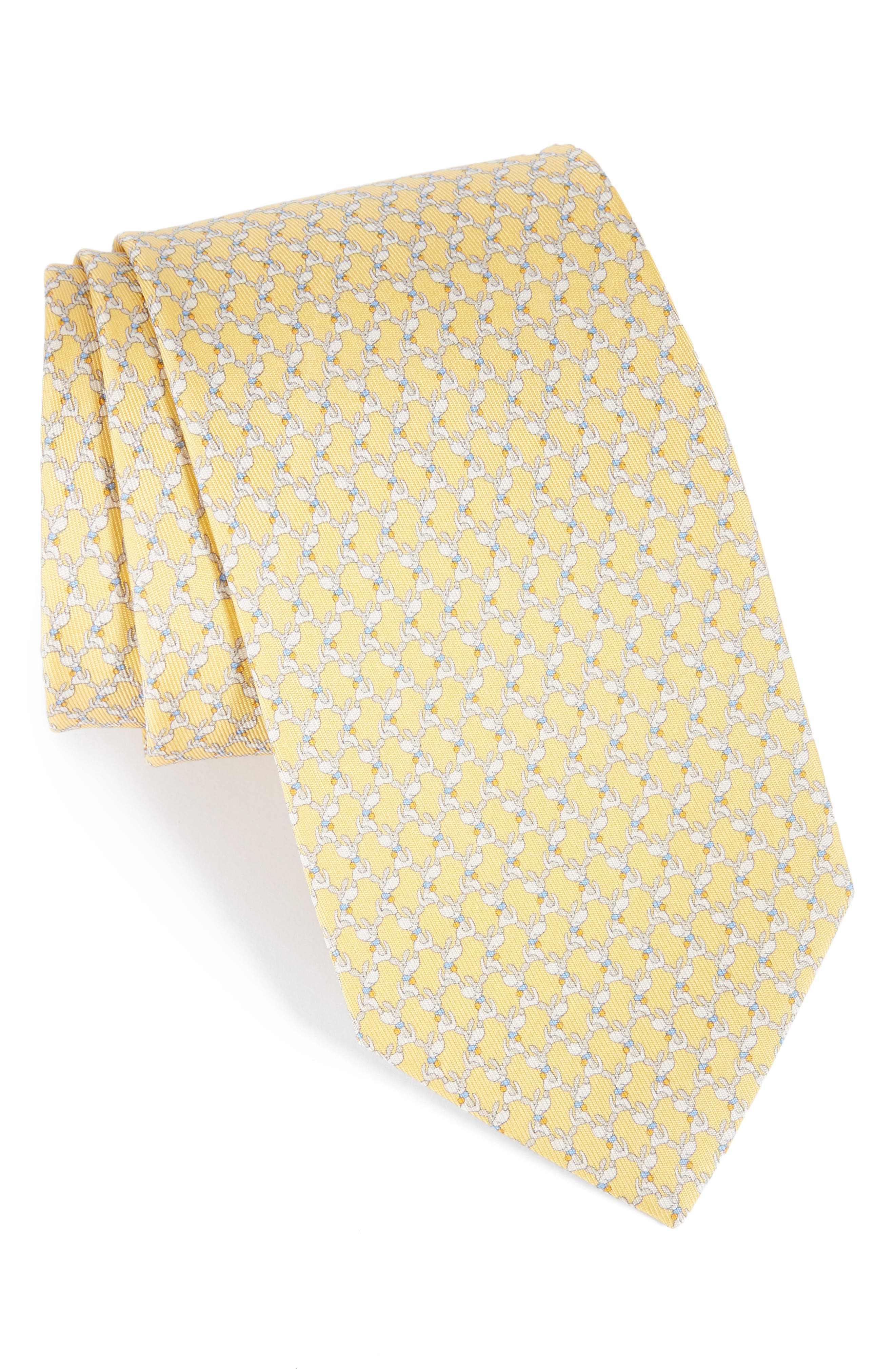 Riccardo Dog Print Silk Tie,                         Main,                         color, Yellow