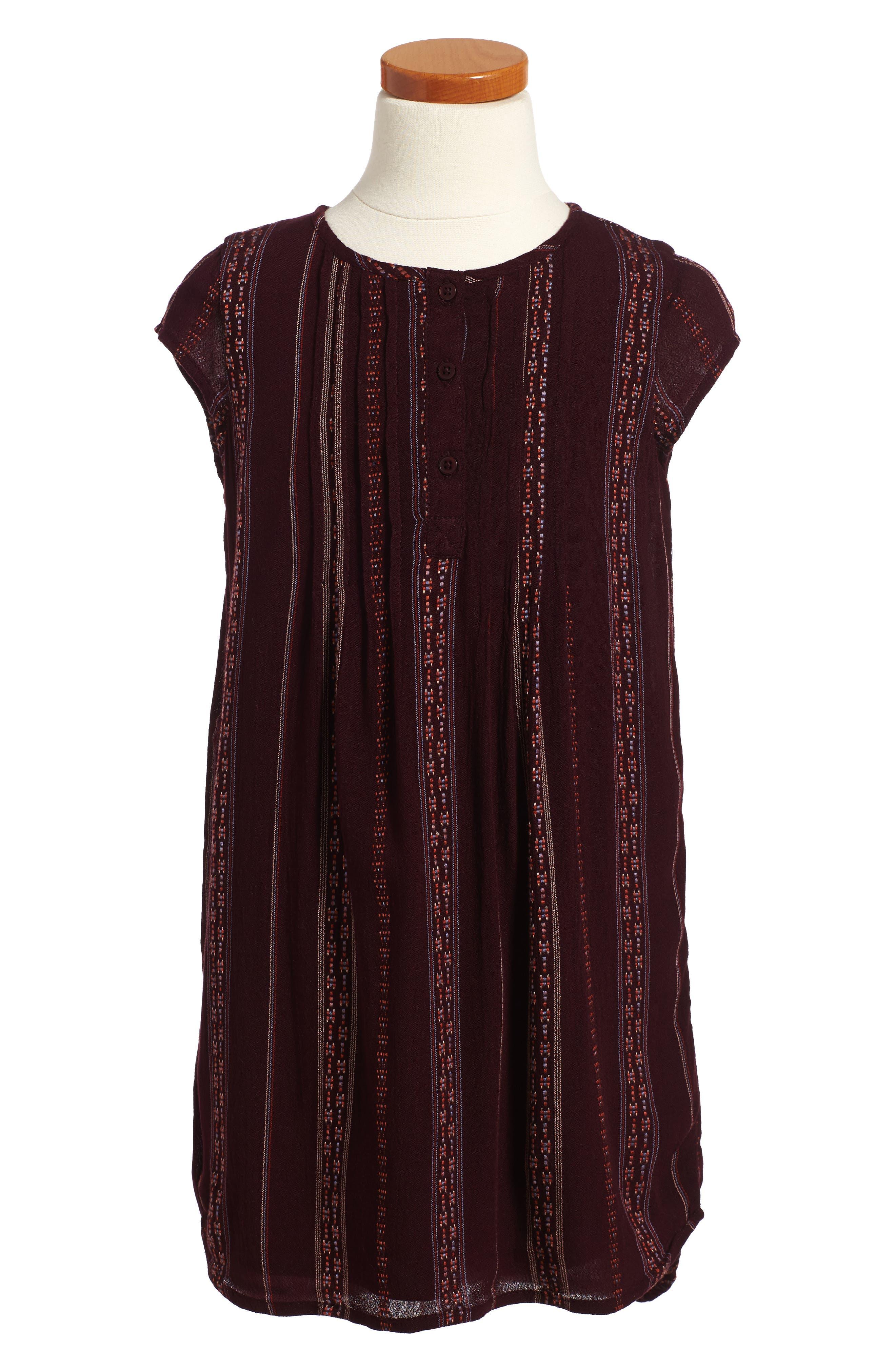 Pintuck Dress,                         Main,                         color, Burgundy Stem Multi Stripe