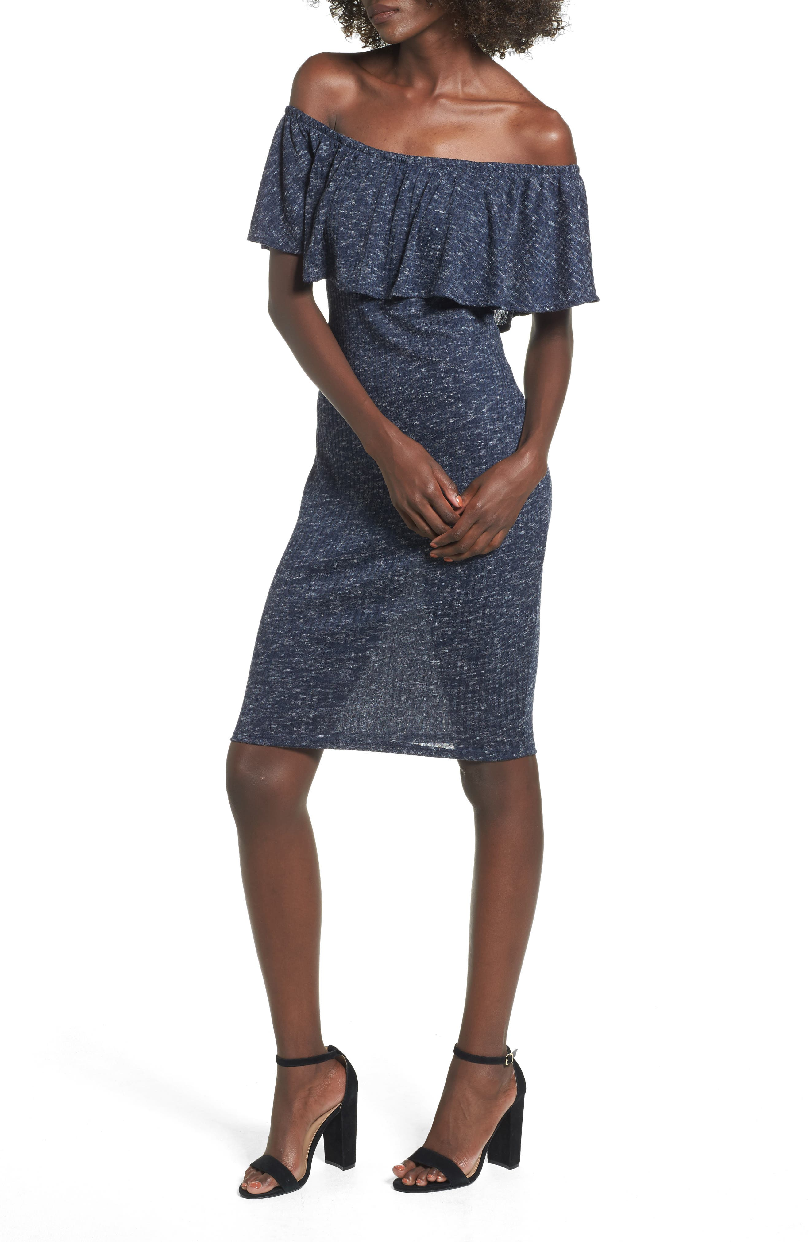 Alternate Image 1 Selected - Mimi Chica Off the Shoulder Ruffle Knit Dress