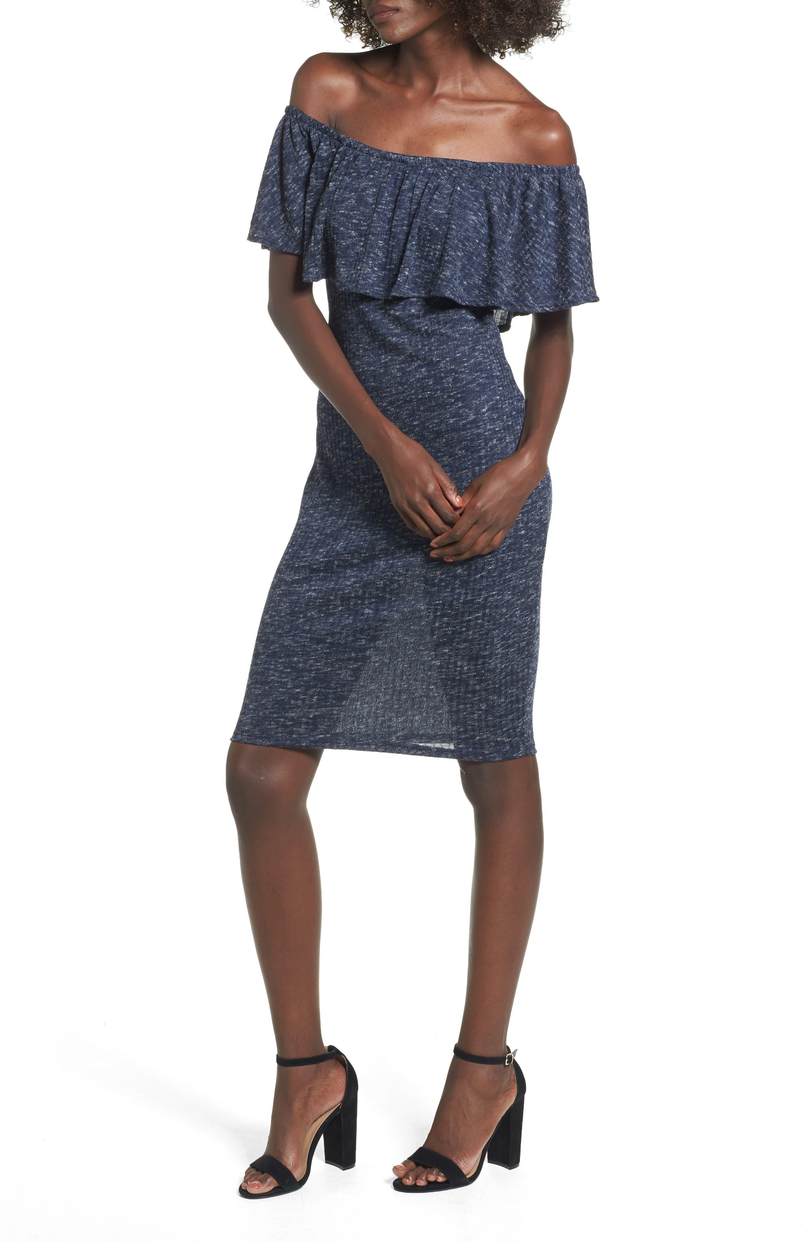 Off the Shoulder Ruffle Knit Dress,                         Main,                         color, Blue