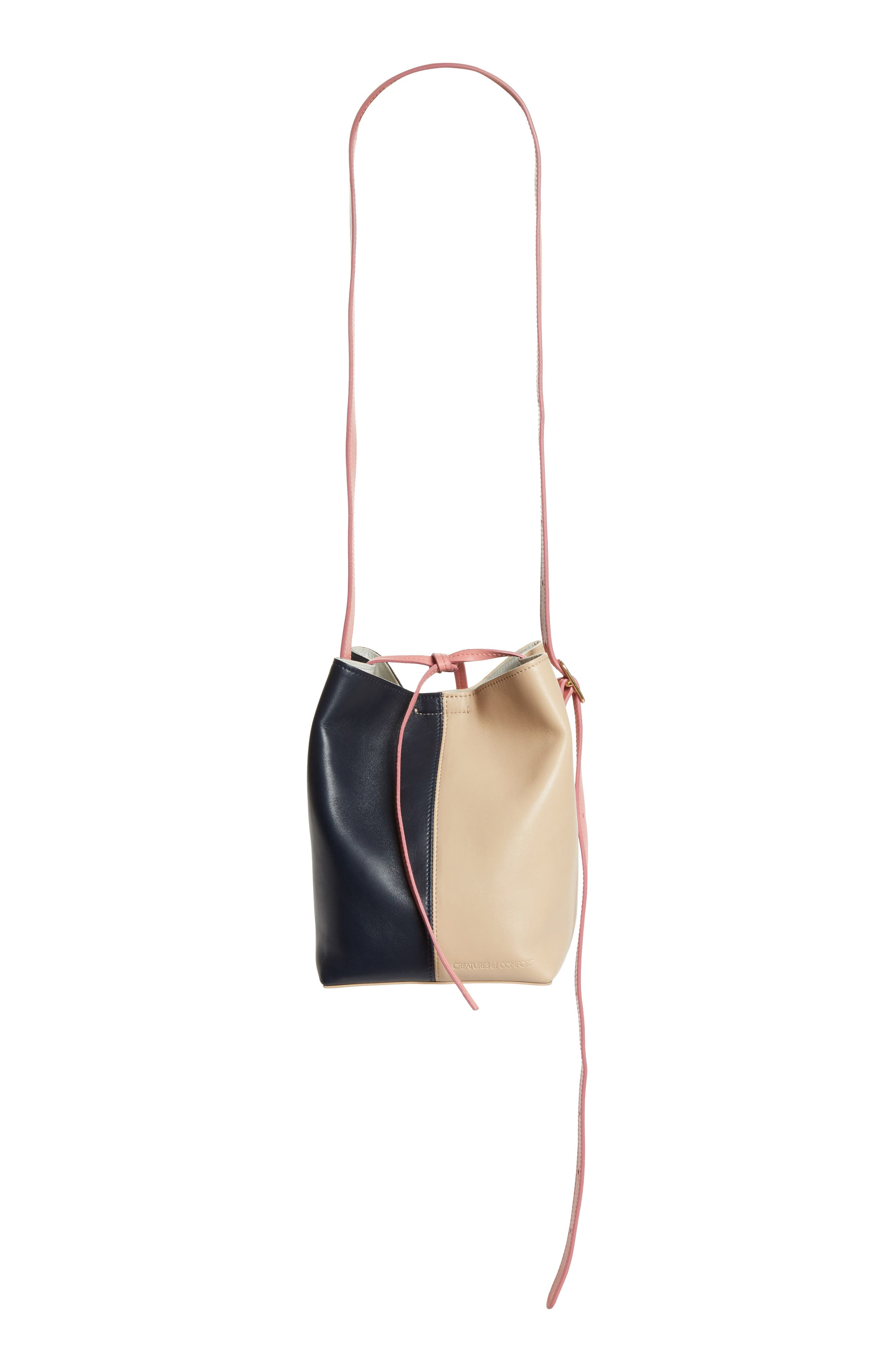 Small Apple Tricolor Leather Bag,                             Main thumbnail 1, color,                             Slate/ Amaryllis/ Cappuccino