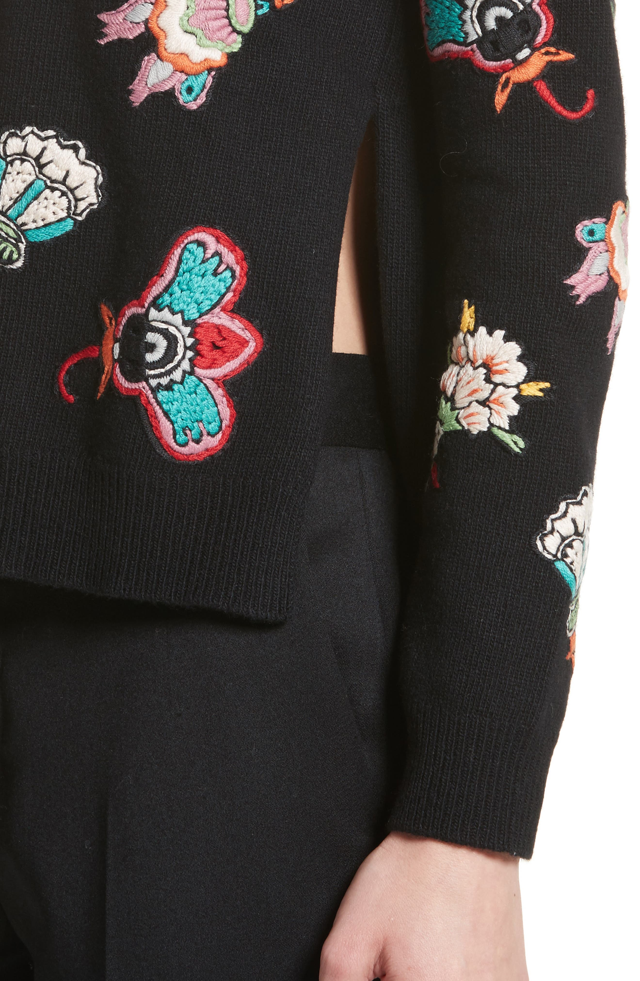Floral Embroidered Wool Sweater,                             Alternate thumbnail 4, color,                             Black