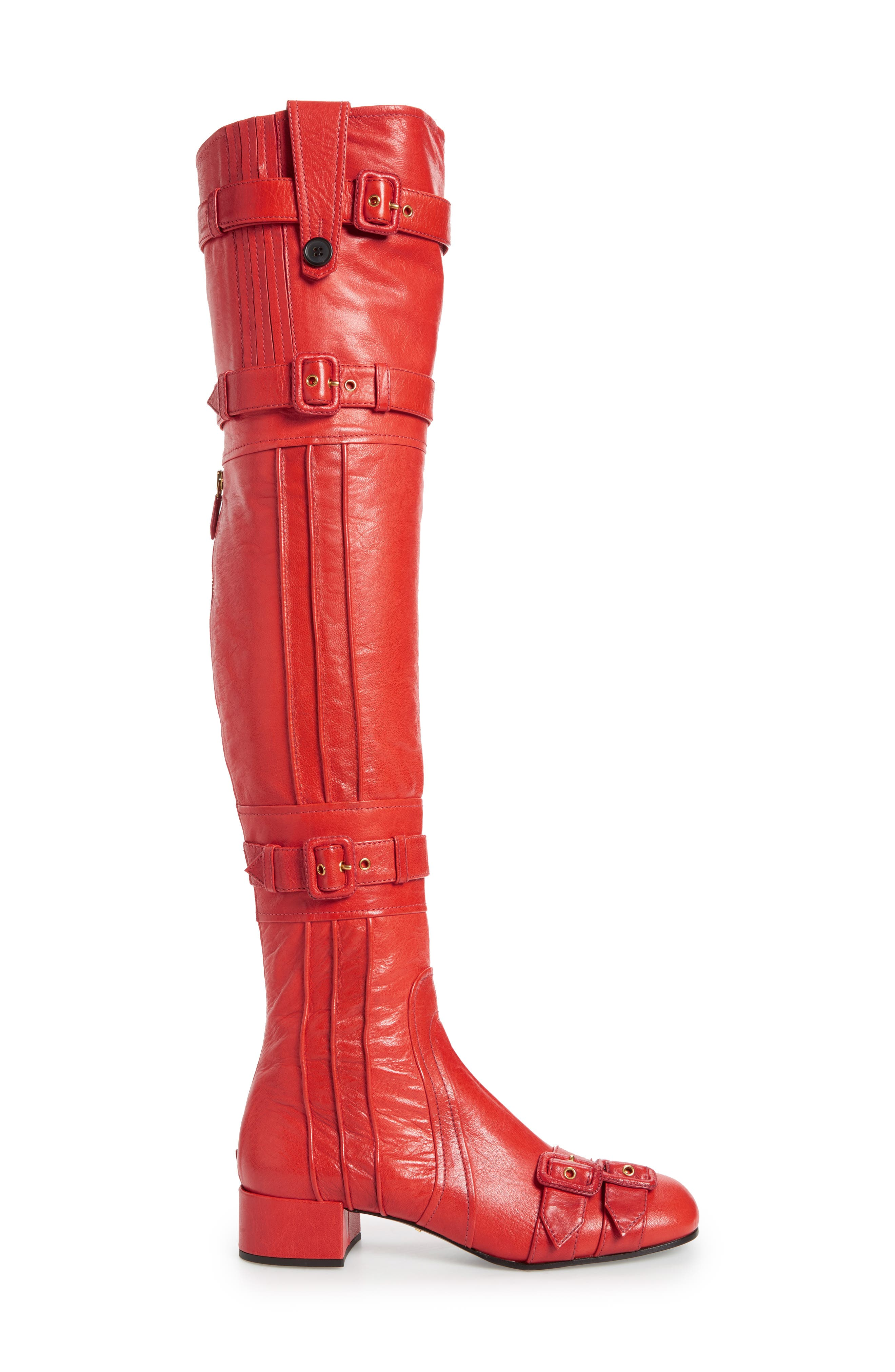 Over the Knee Boot,                             Alternate thumbnail 2, color,                             Red Leather