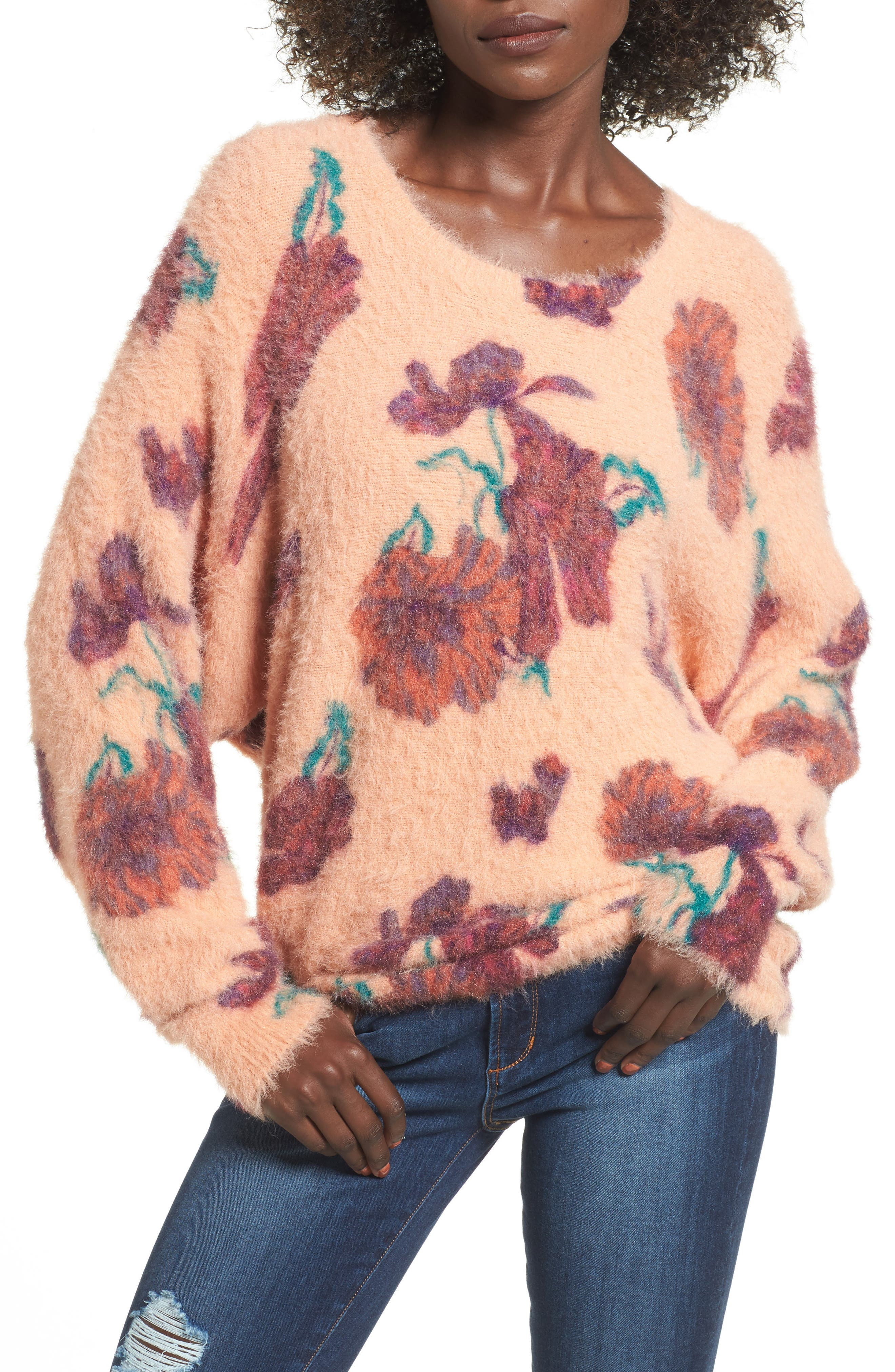 Fluffy Pullover,                             Main thumbnail 1, color,                             Coral Muted Expressive Floral