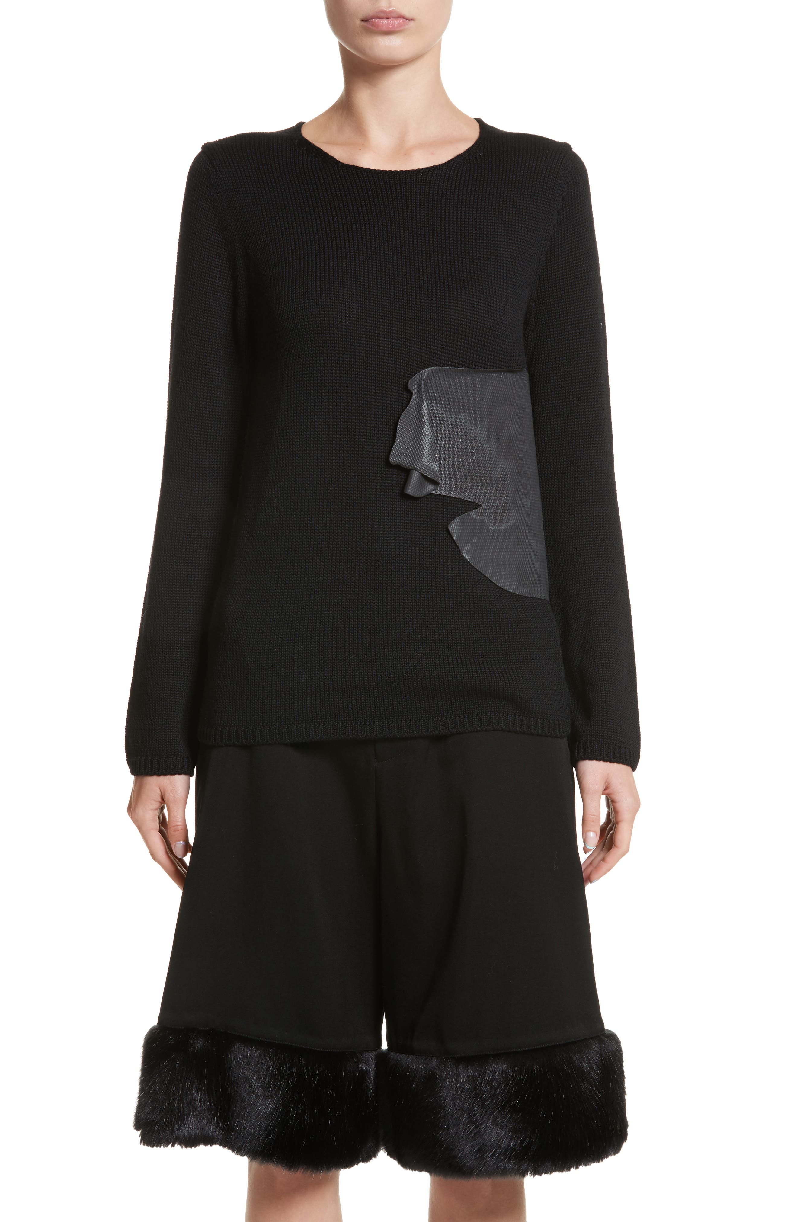 Rubber Detail Wool Sweater,                         Main,                         color, Black/ Black
