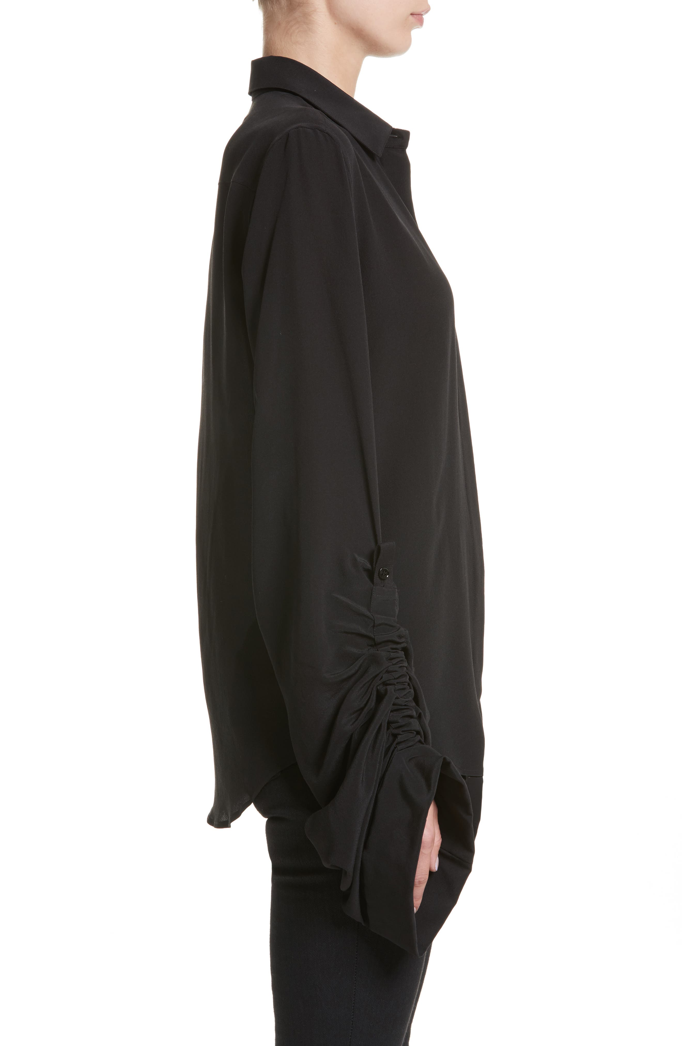 Exaggerated Sleeve Silk Blouse,                             Alternate thumbnail 3, color,                             Noir