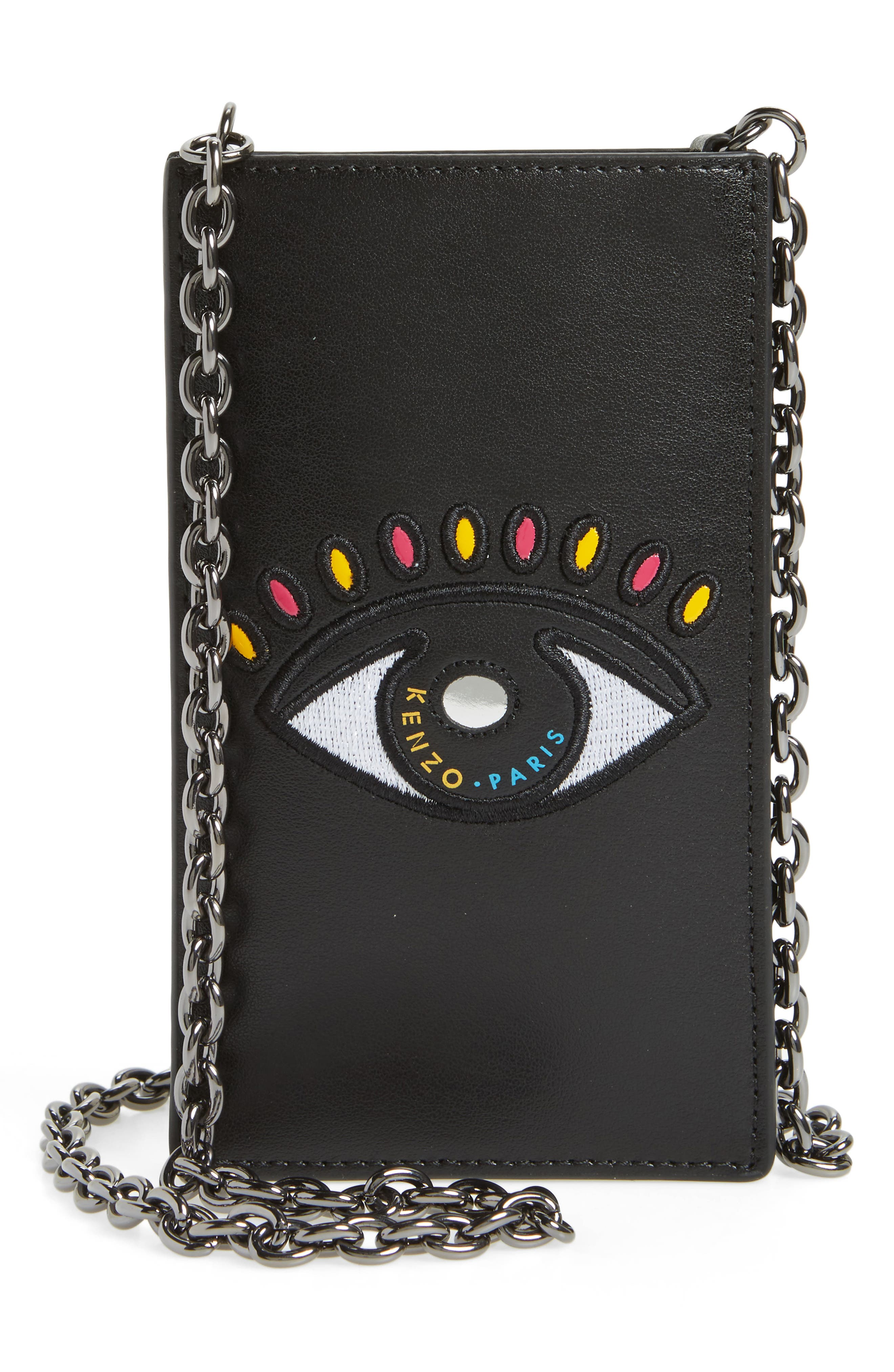 KENZO Icons Cory Eye Leather Phone Case on a Chain