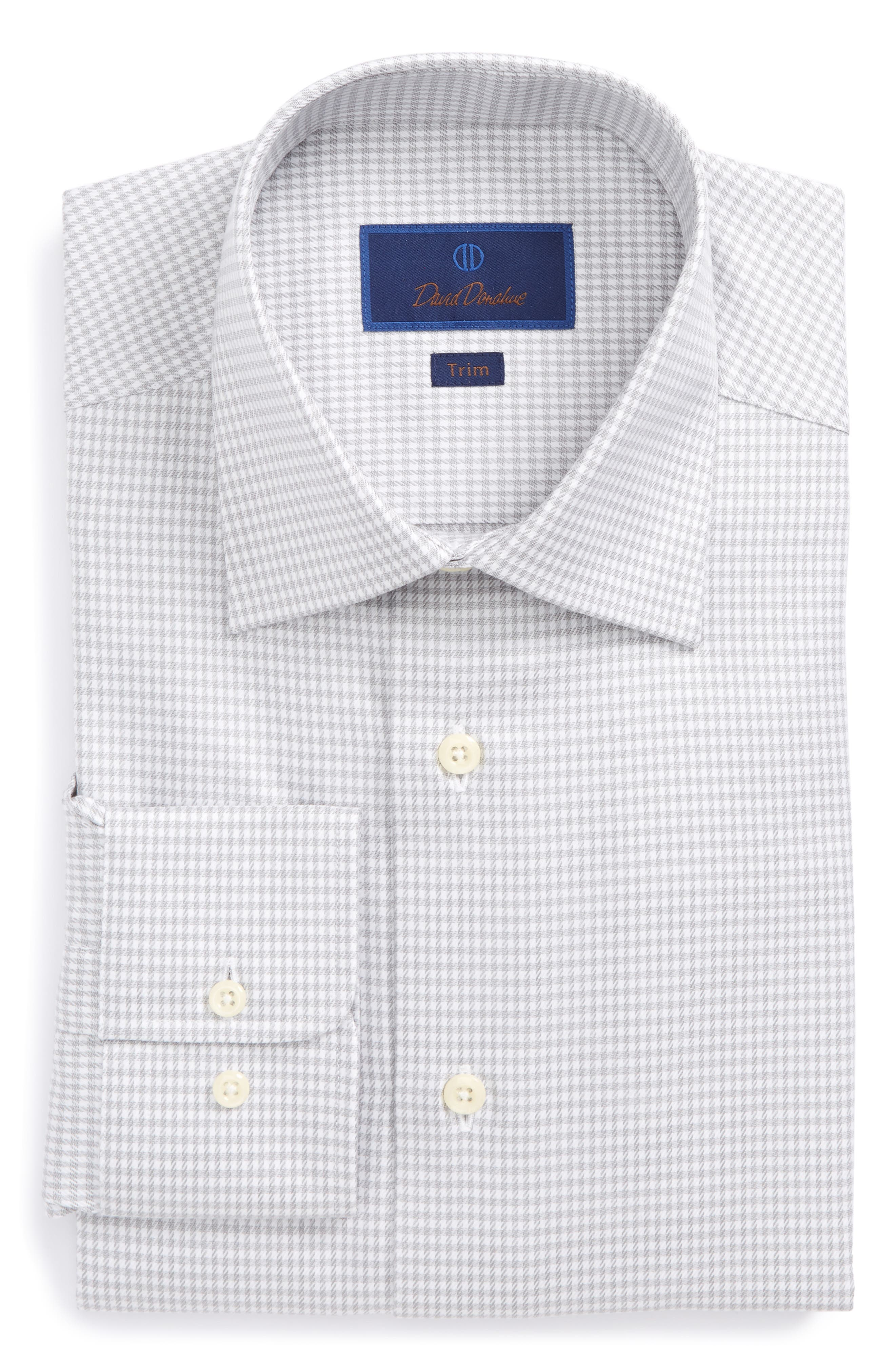 Trim Fit Houndstooth Dress Shirt,                         Main,                         color, Gray