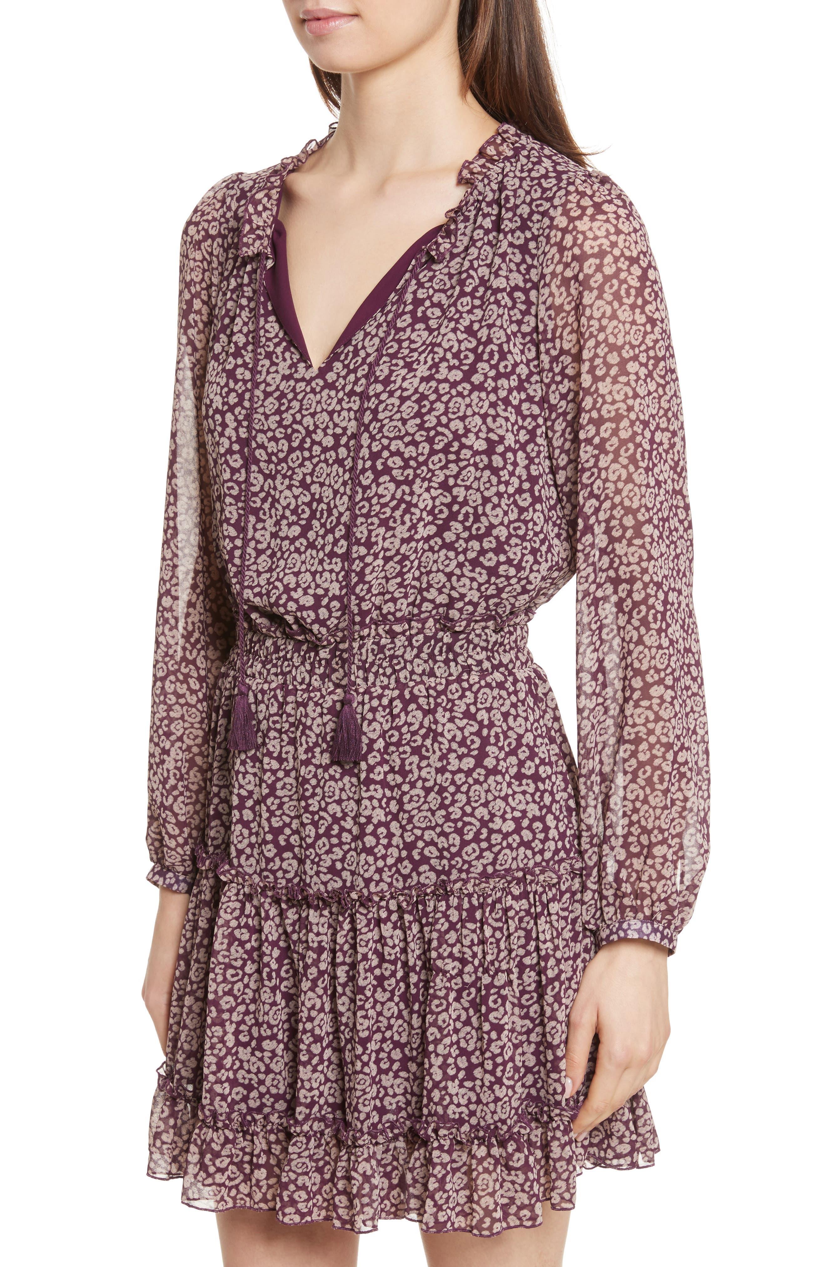 Rosemary A-Line Dress,                             Alternate thumbnail 4, color,                             Potent Purple Leopard