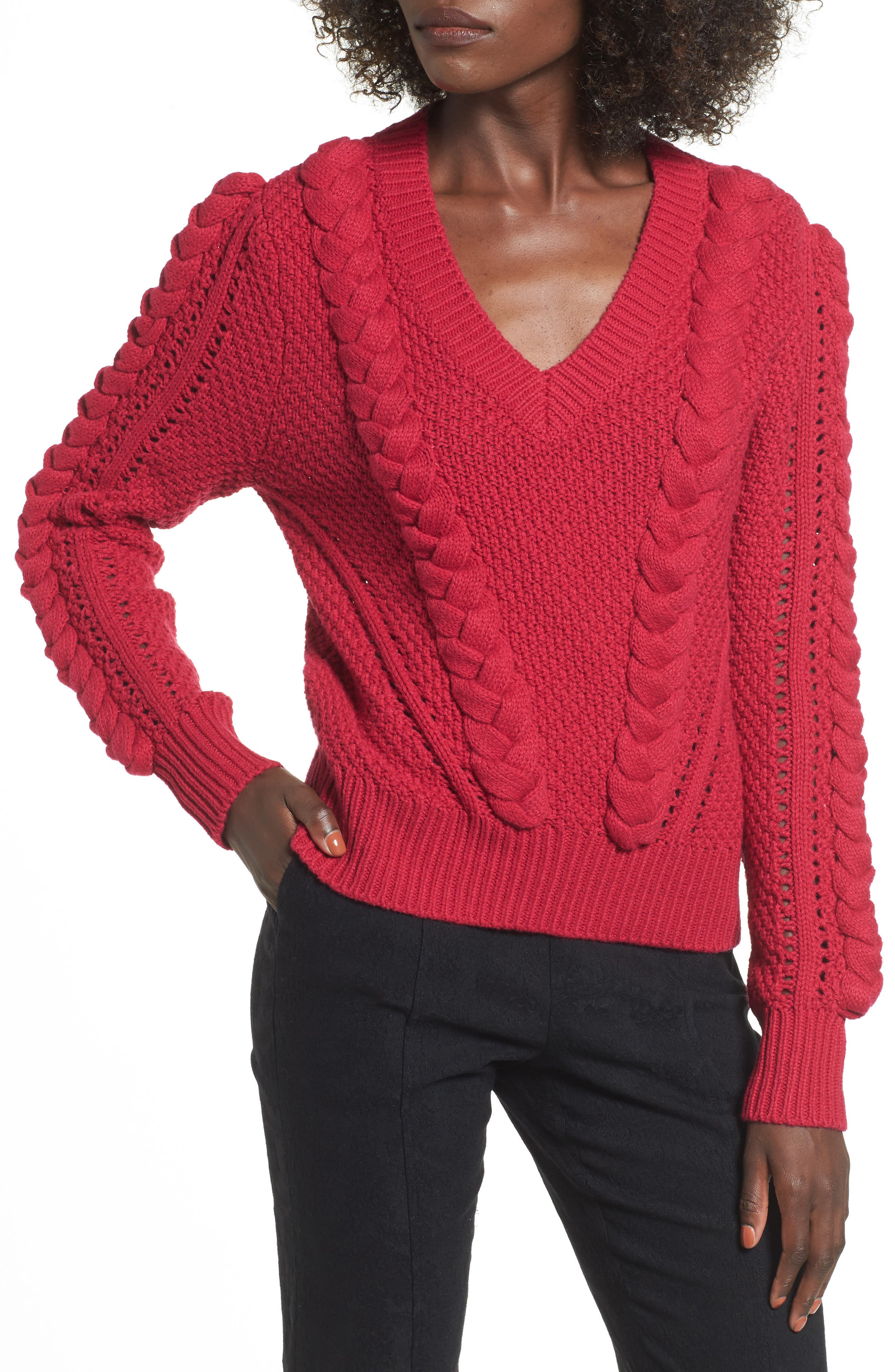 Power Cable Sweater,                             Main thumbnail 1, color,                             Red Cerise