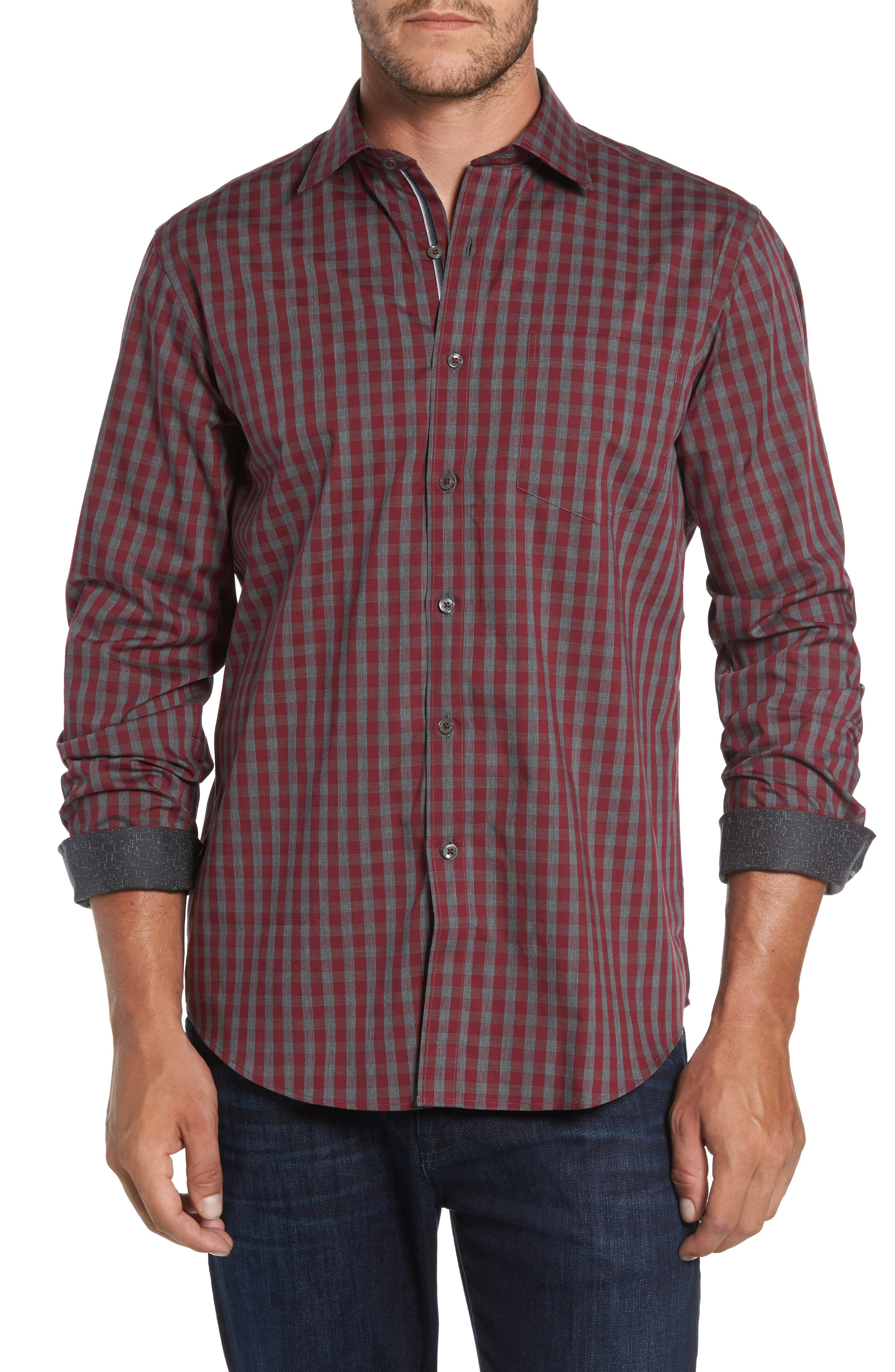 Classic Fit Check Sport Shirt,                         Main,                         color, Wine