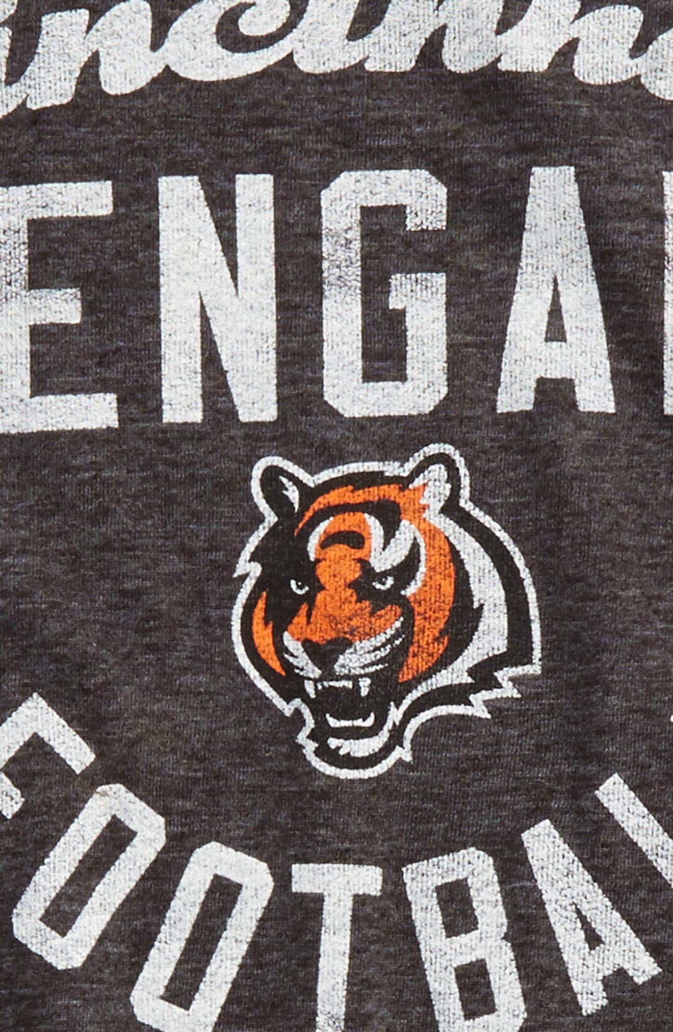 NFL Cincinatti Bengals Distressed Logo T-Shirt,                             Alternate thumbnail 2, color,                             Black