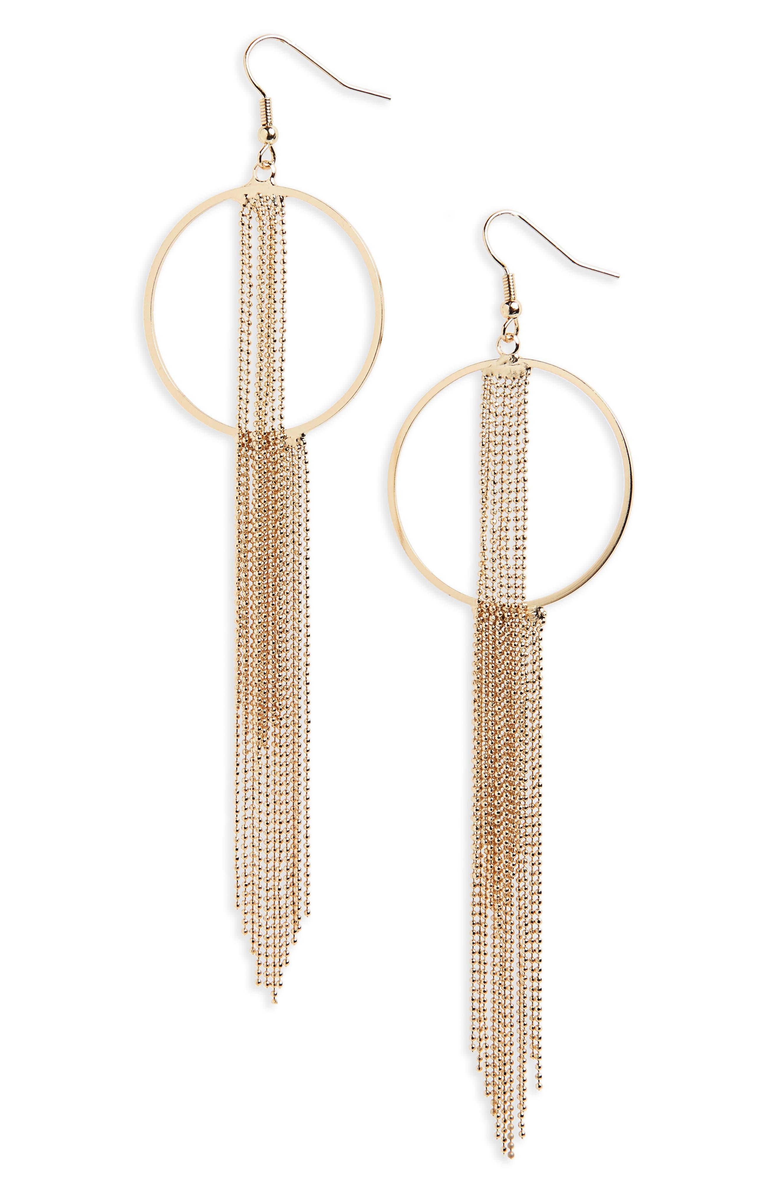 Main Image - Topshop Tassel Hoop Drop Earrings