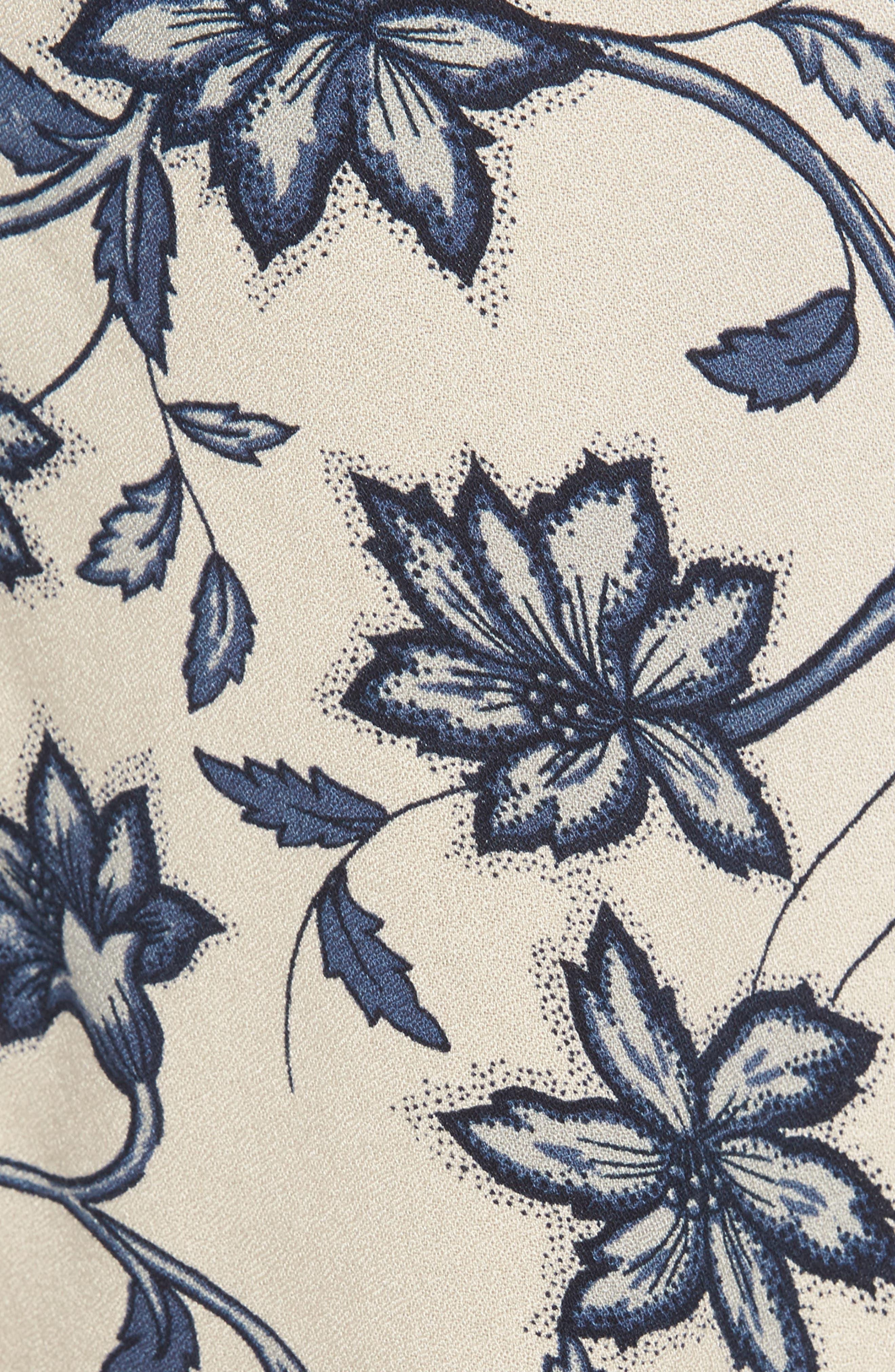 Ruffle Sleeve Blouse,                             Alternate thumbnail 5, color,                             Beige Whisper Burnt Floral