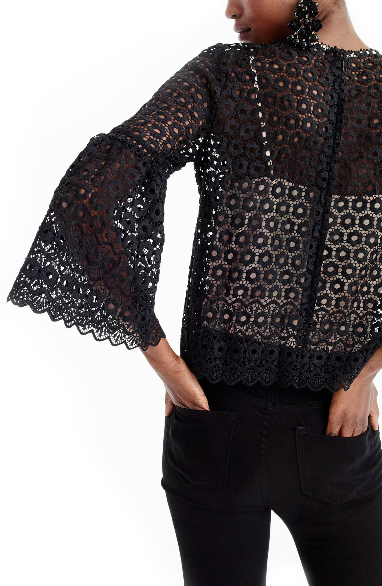 Alternate Image 2  - J.Crew Bell Sleeve Daisy Lace Top